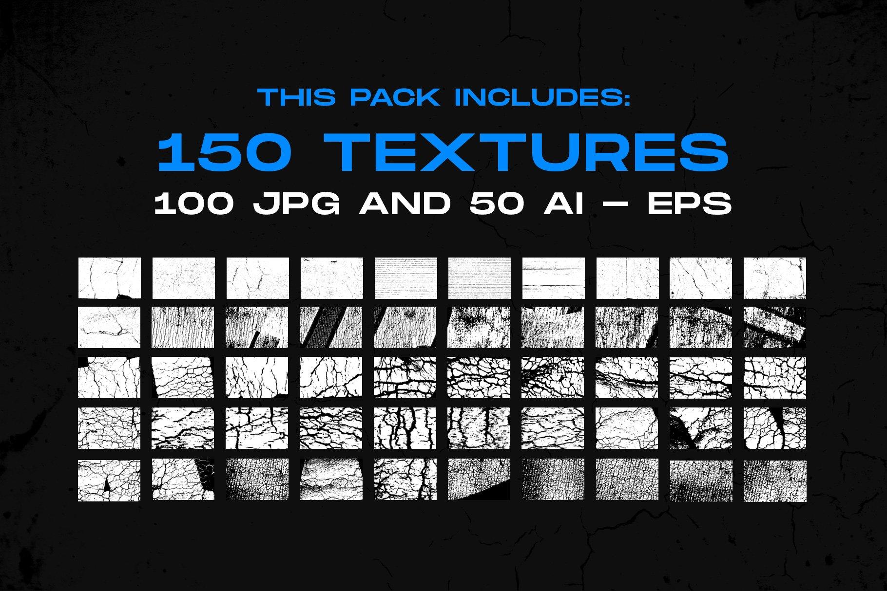 [单独购买] 150款潮流做旧粗糙磨损裂纹纹理平面广告设计背景图片素材 Cracked & Distressed Textures插图2