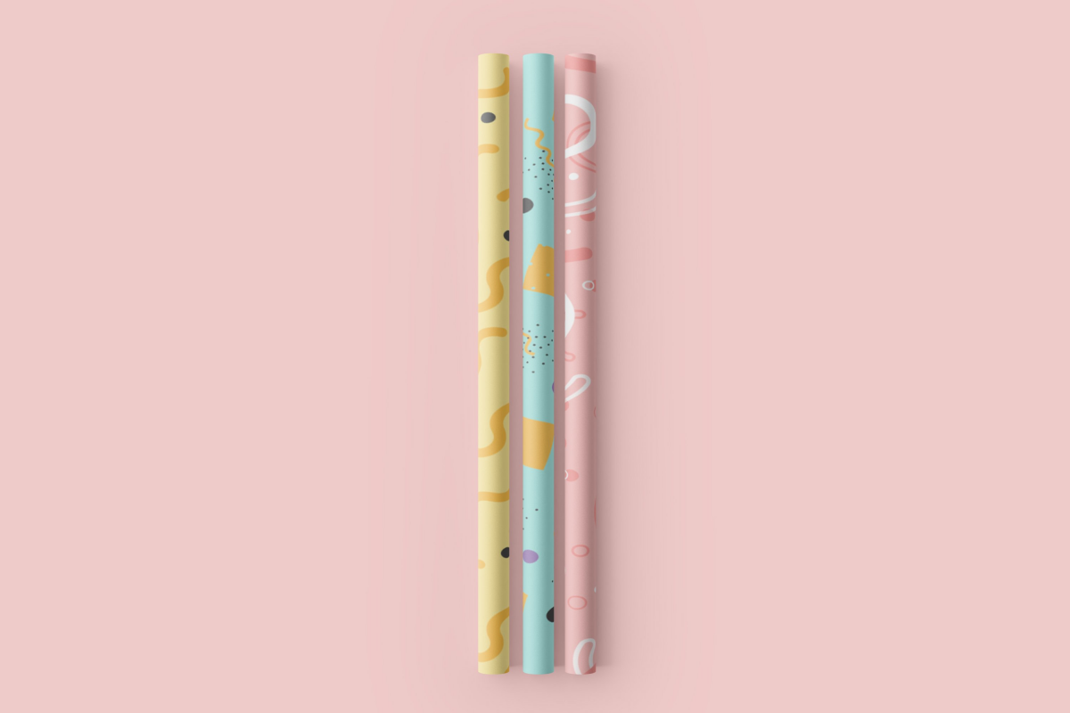 卷轴壁纸印花图案设计3D演示样机模板 Paper Straw 3D Mockup插图7