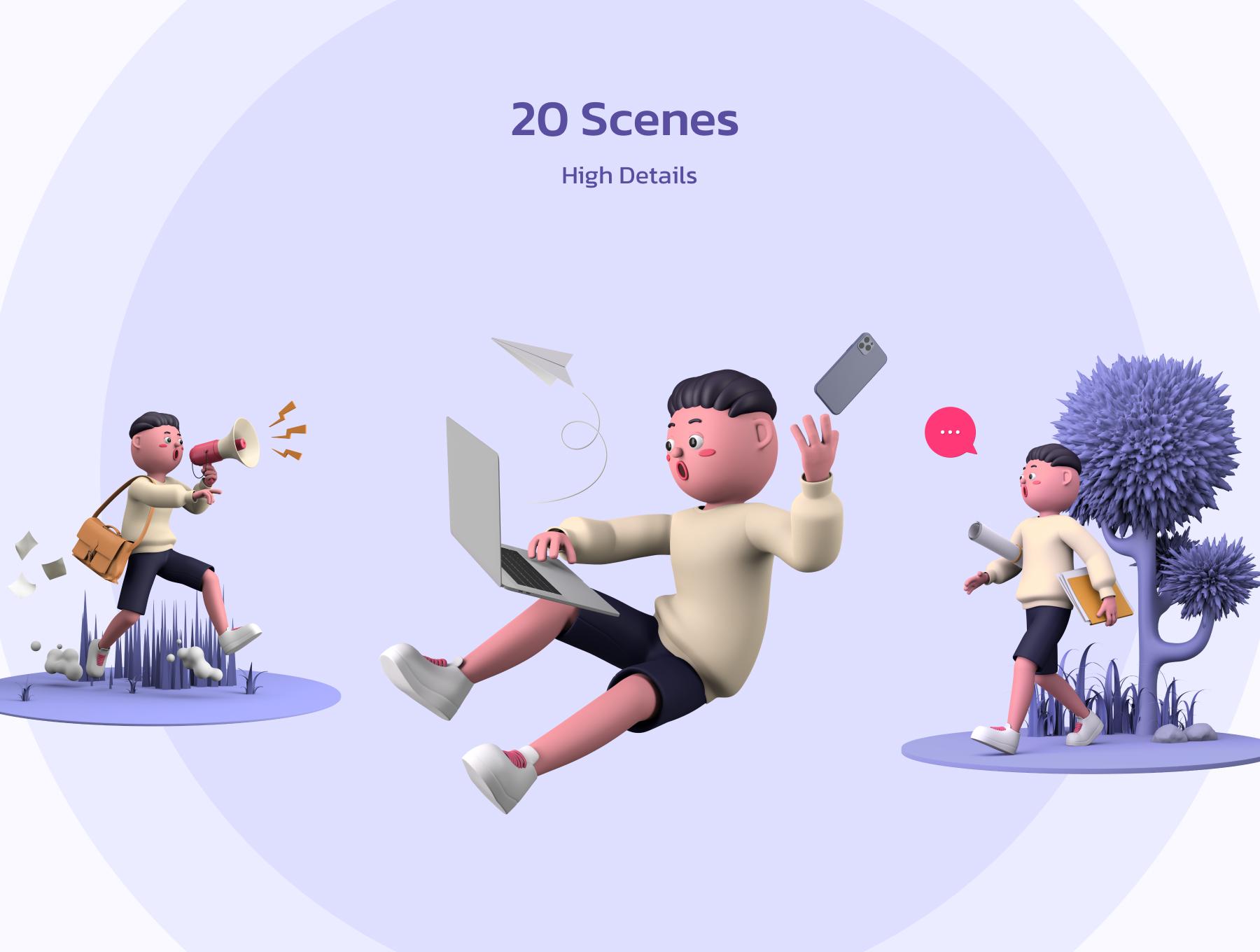 创意潮流卡通人物办公场景APP UI设计3D图标素材包 OUUU!!! 3D Illustration插图2