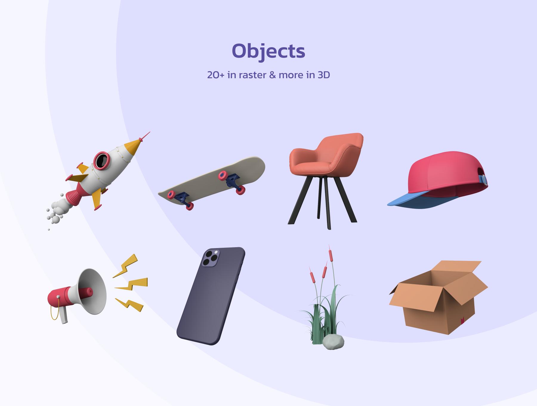 创意潮流卡通人物办公场景APP UI设计3D图标素材包 OUUU!!! 3D Illustration插图3