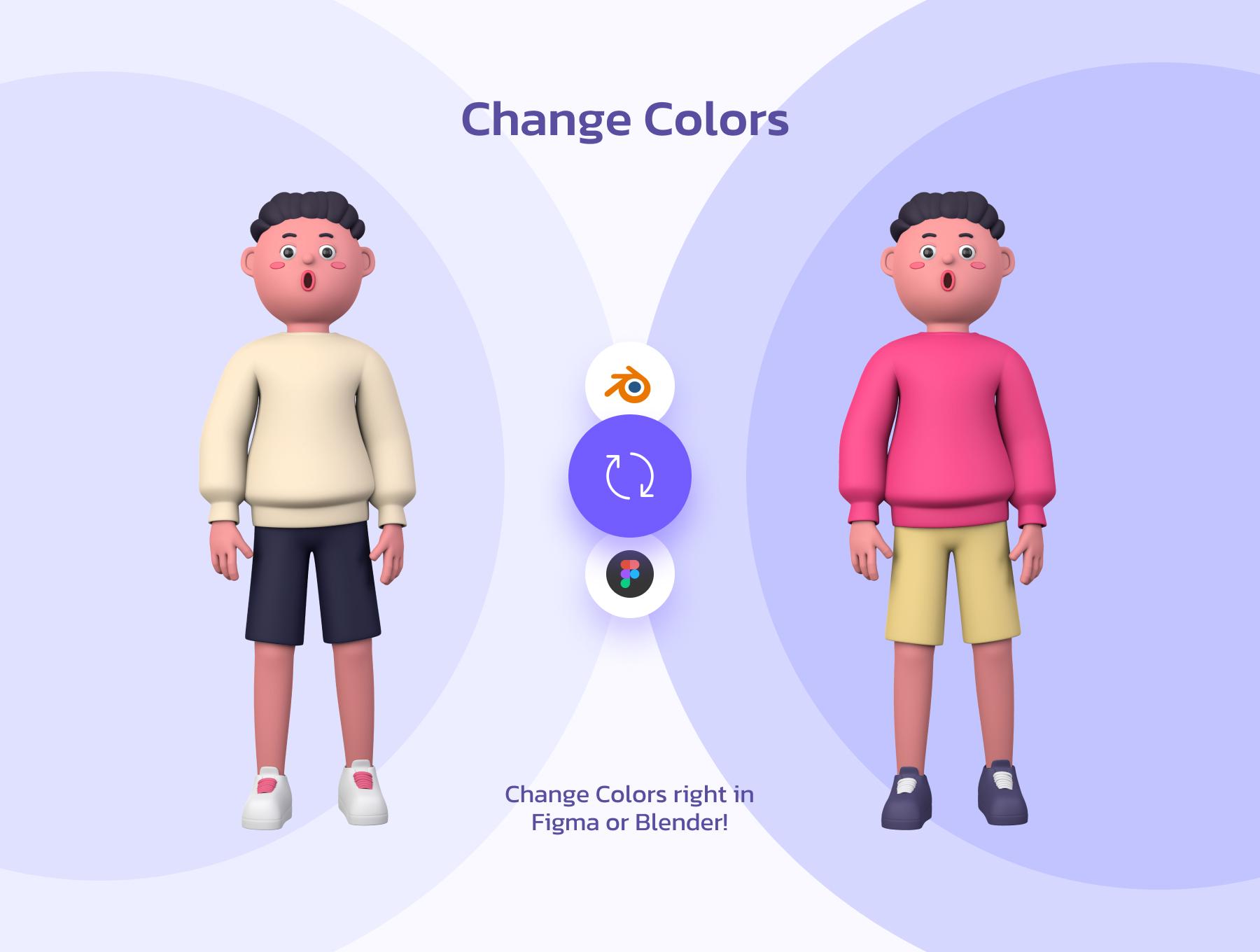 创意潮流卡通人物办公场景APP UI设计3D图标素材包 OUUU!!! 3D Illustration插图4