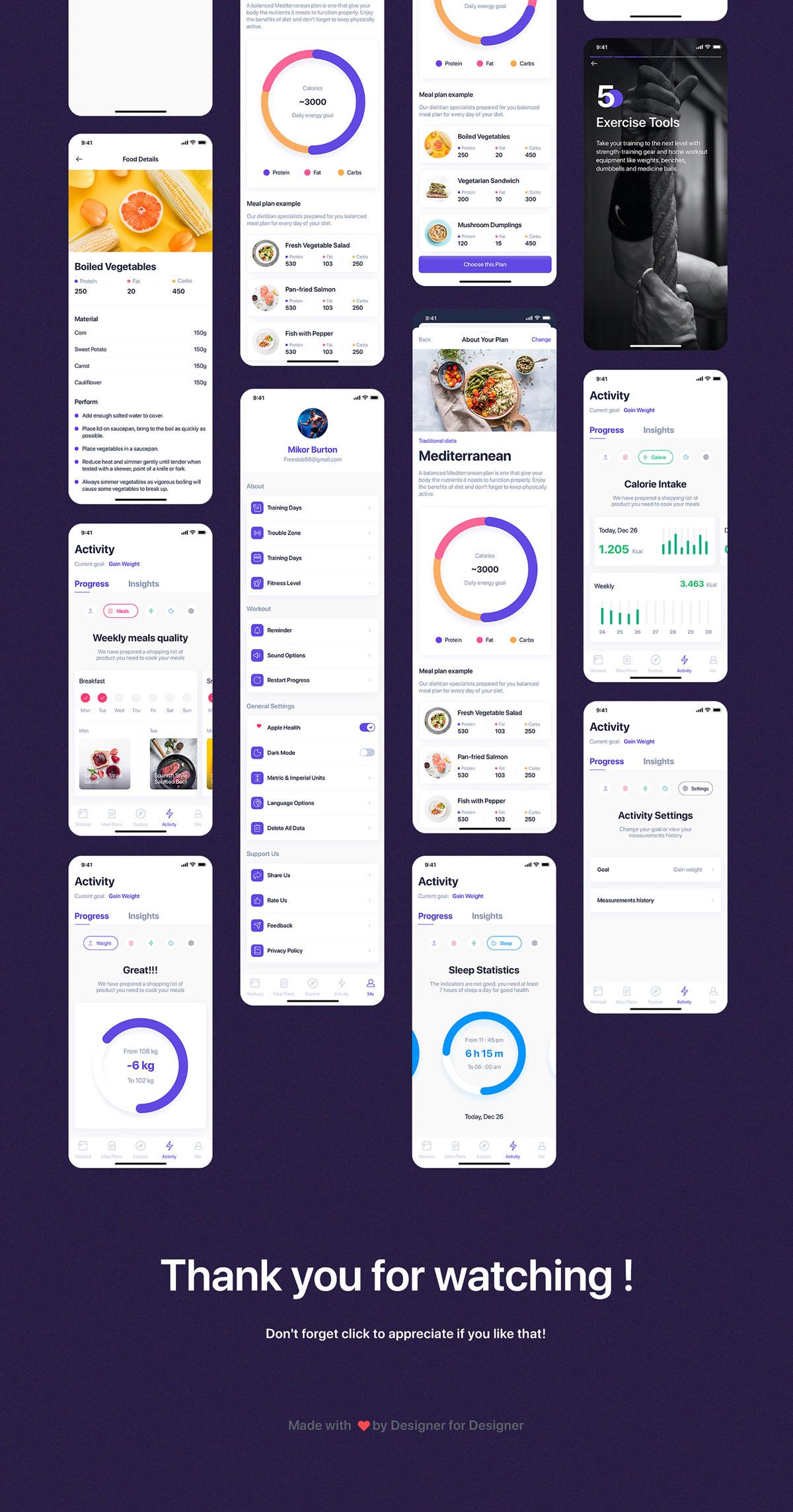 健身锻炼减肥膳食计划APP界面设计UI套件 Fitbox – Workouts & Meal Planner UI Kit插图5