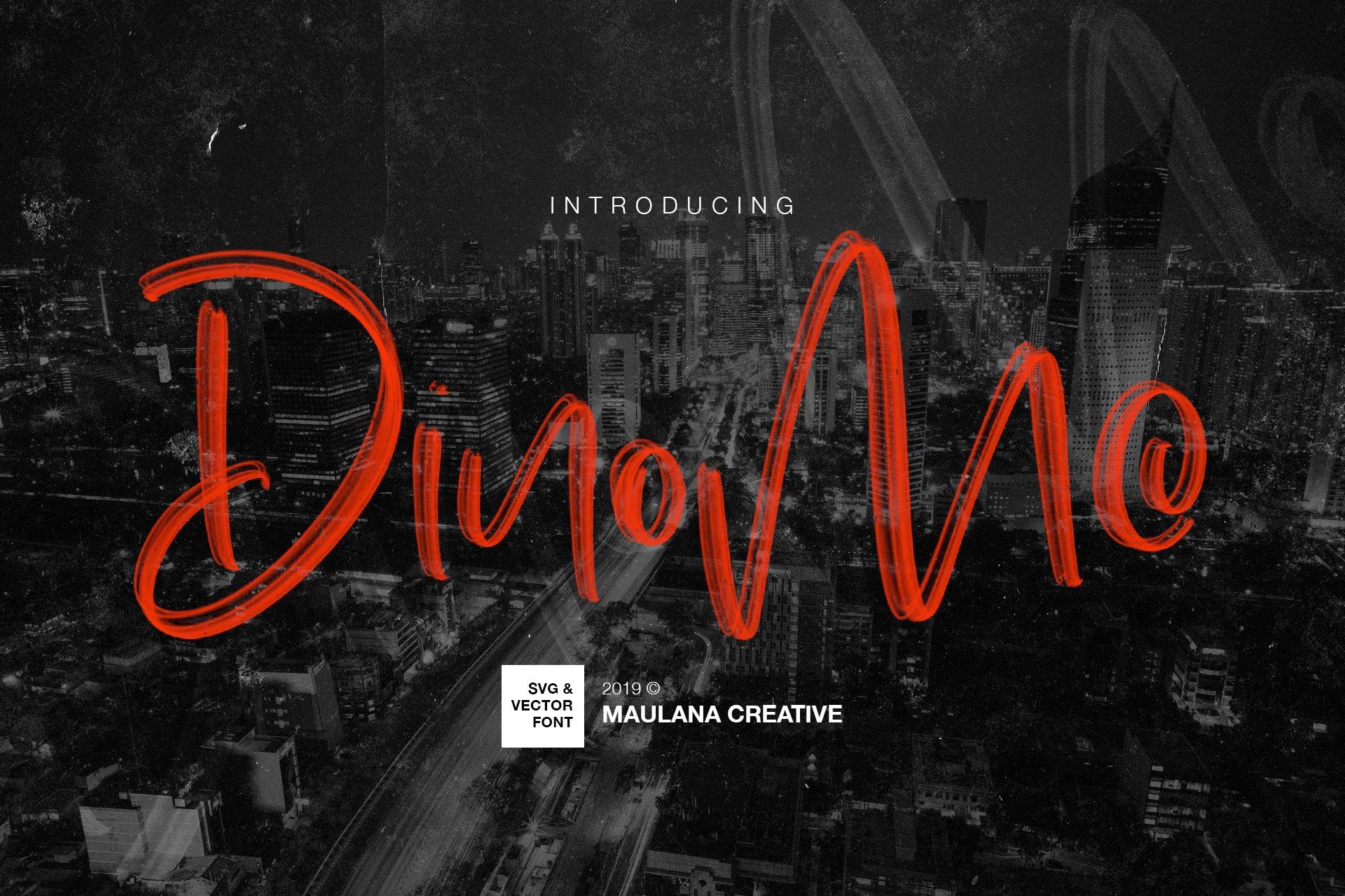 手写涂鸦书法笔刷杂志海报Logo标题英文字体设计素材 Dinomo SVG Brush Font插图