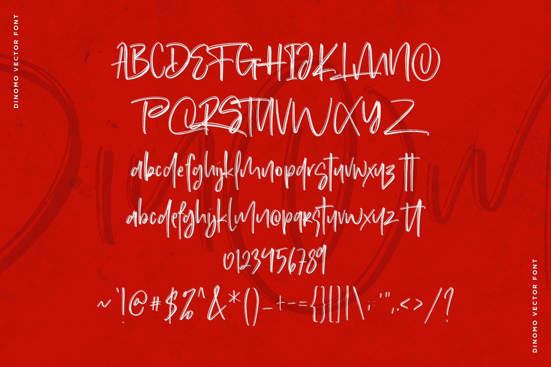 手写涂鸦书法笔刷杂志海报Logo标题英文字体设计素材 Dinomo SVG Brush Font插图9