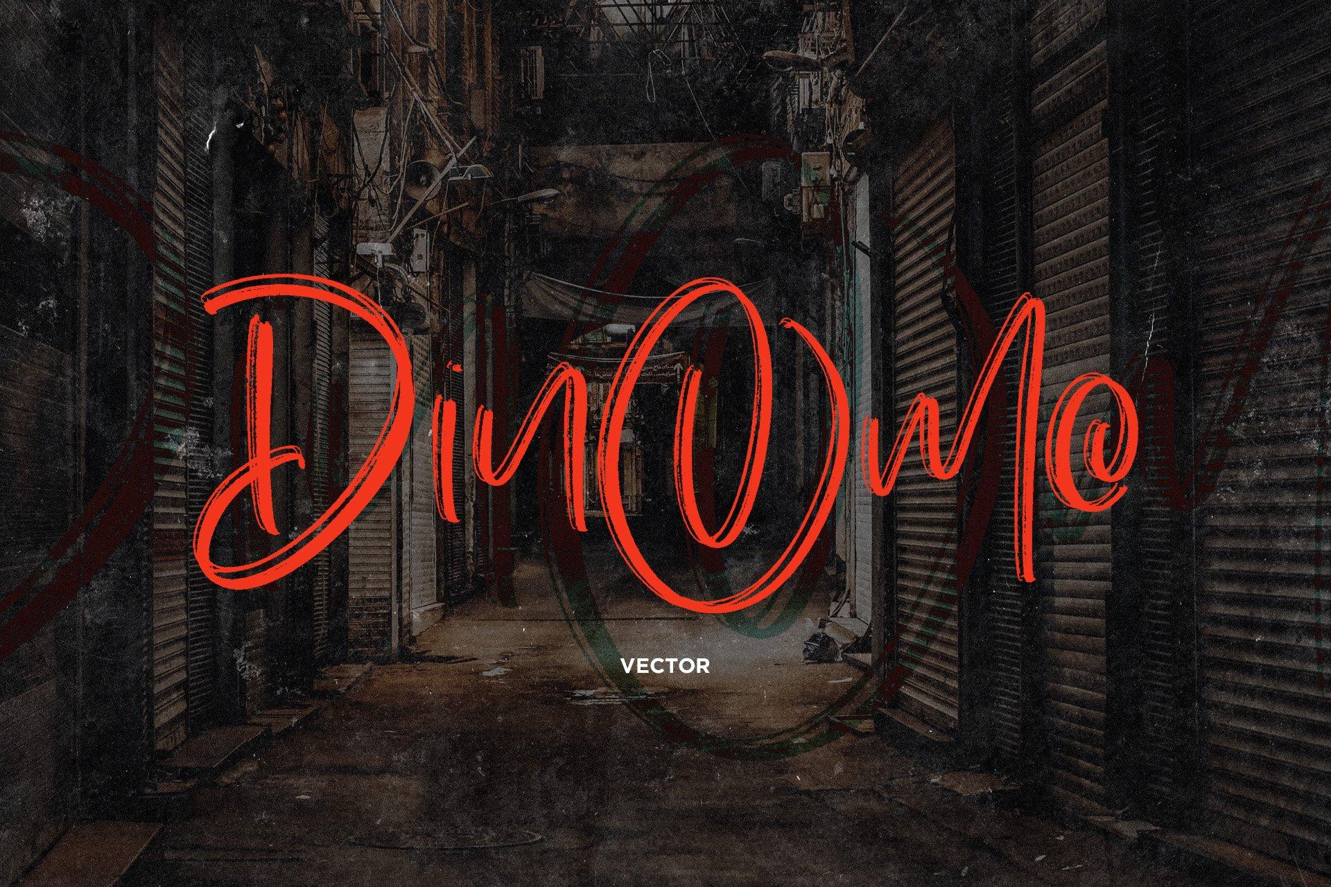 手写涂鸦书法笔刷杂志海报Logo标题英文字体设计素材 Dinomo SVG Brush Font插图1