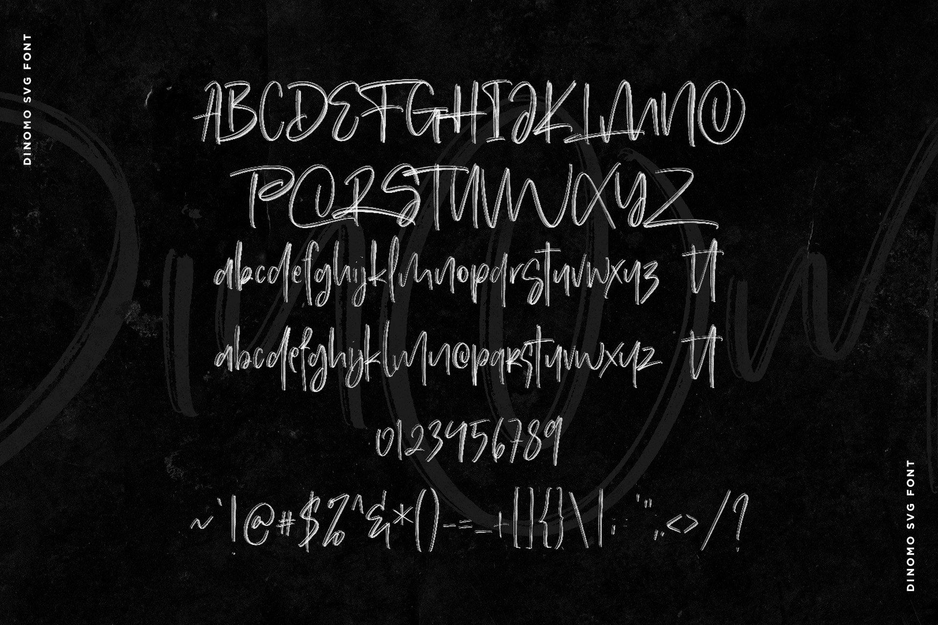 手写涂鸦书法笔刷杂志海报Logo标题英文字体设计素材 Dinomo SVG Brush Font插图8