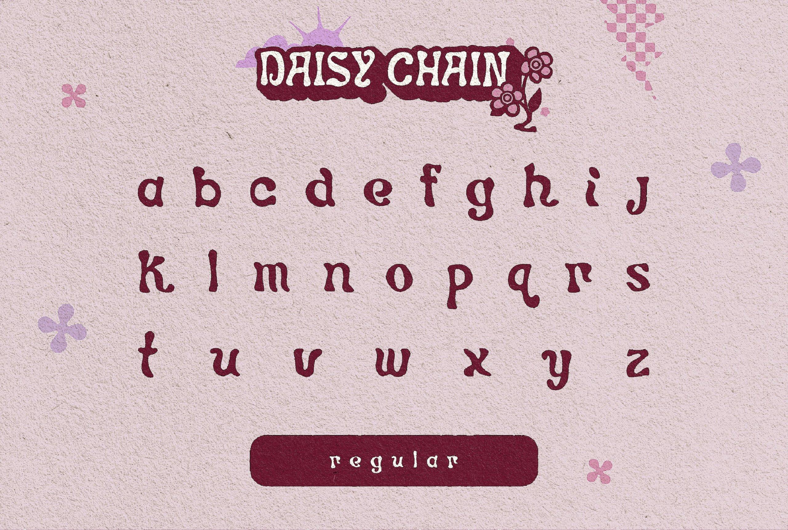 时尚复古卡通标题徽标Logo斜体装饰英文字体素材 DAISY CHAIN – A Funky Display Face插图3