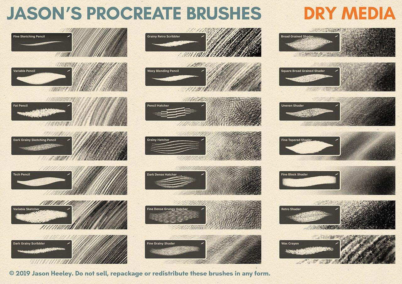 [淘宝购买] 潮流粗糙水墨颗粒线条绘画画笔Procreate笔刷素材 Jason's Procreate Brushes插图2