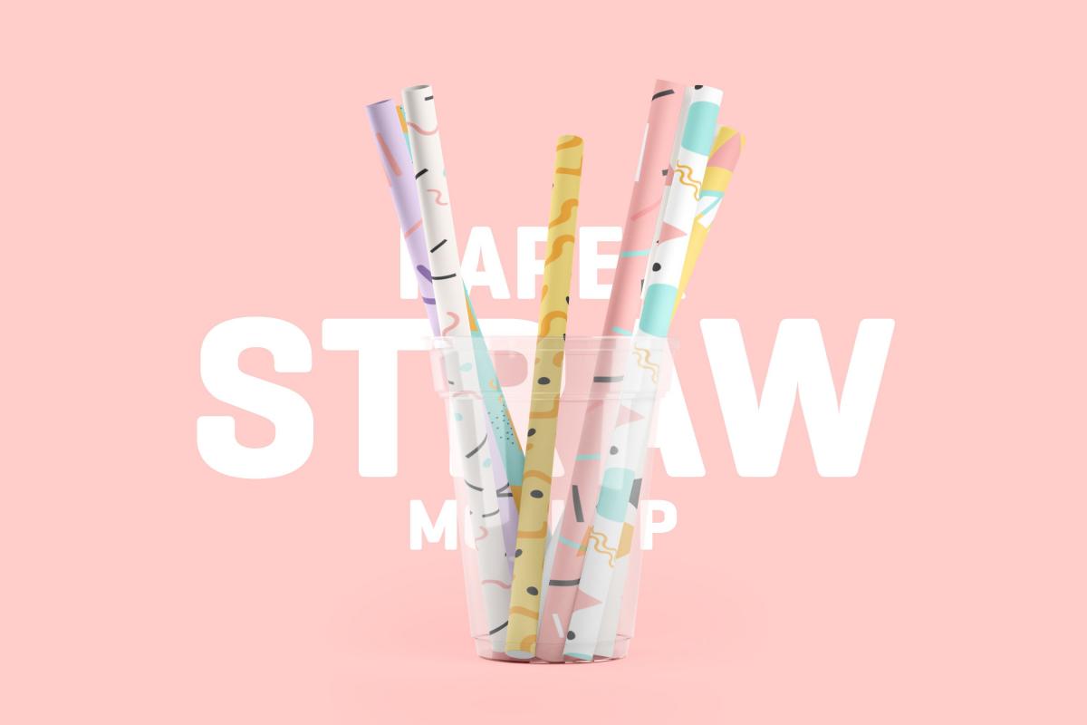 卷轴壁纸印花图案设计3D演示样机模板 Paper Straw 3D Mockup插图