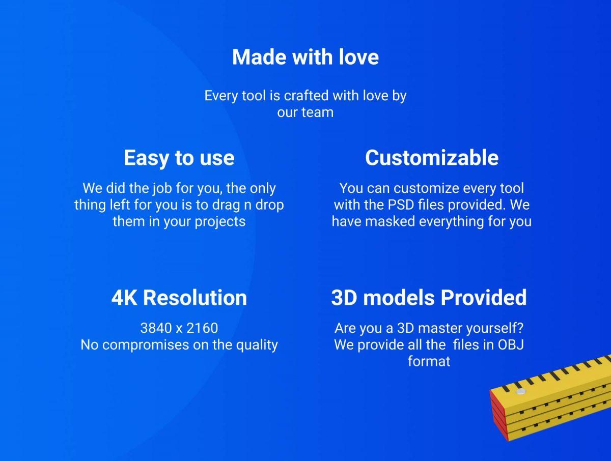 48个卡通3D修炼工具图标设计素材 3D Tools插图1