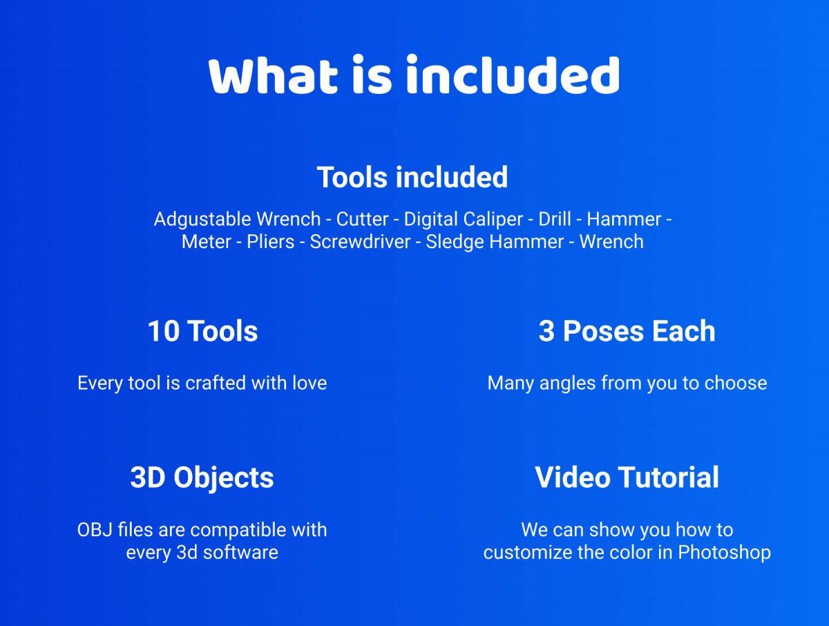 48个卡通3D修炼工具图标设计素材 3D Tools插图2