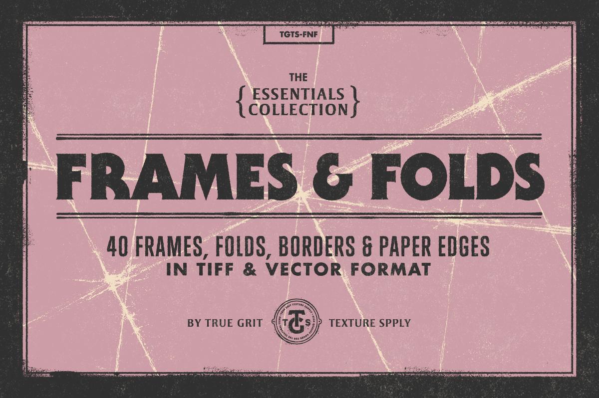 40款粗糙折痕撕裂喷墨相框纸张纹理背景图片设计素材 Frames & Folds Texture Pack插图