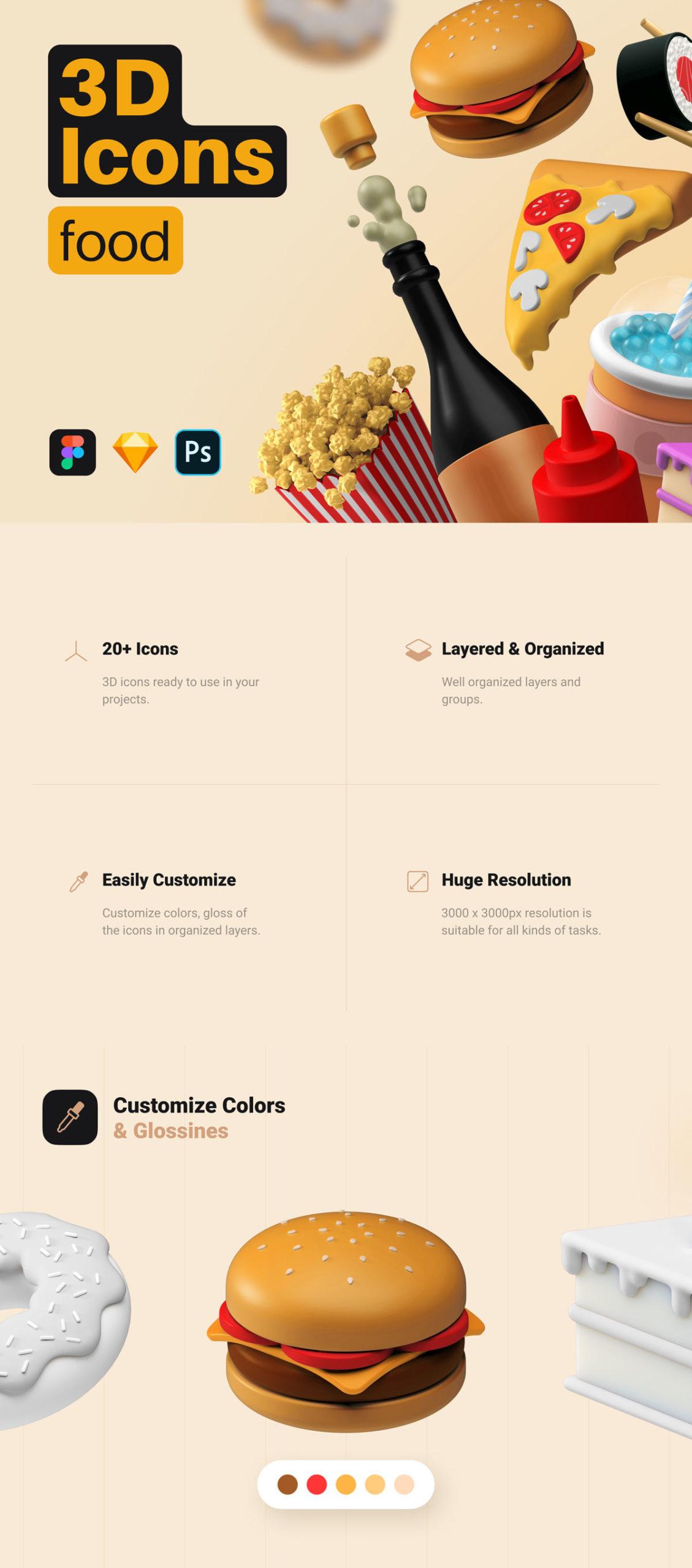 简约西餐快餐食物主题3D图标设计素材套装 3D Icons Pack – Food插图