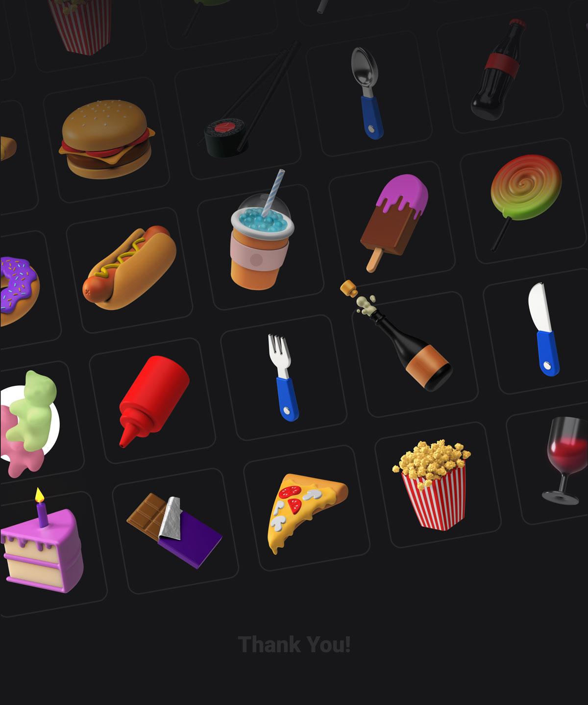 简约西餐快餐食物主题3D图标设计素材套装 3D Icons Pack – Food插图2