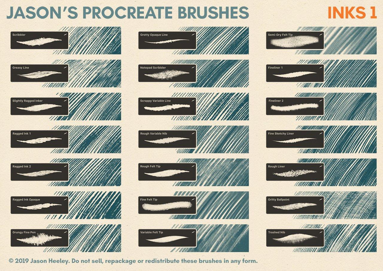[淘宝购买] 潮流粗糙水墨颗粒线条绘画画笔Procreate笔刷素材 Jason's Procreate Brushes插图3