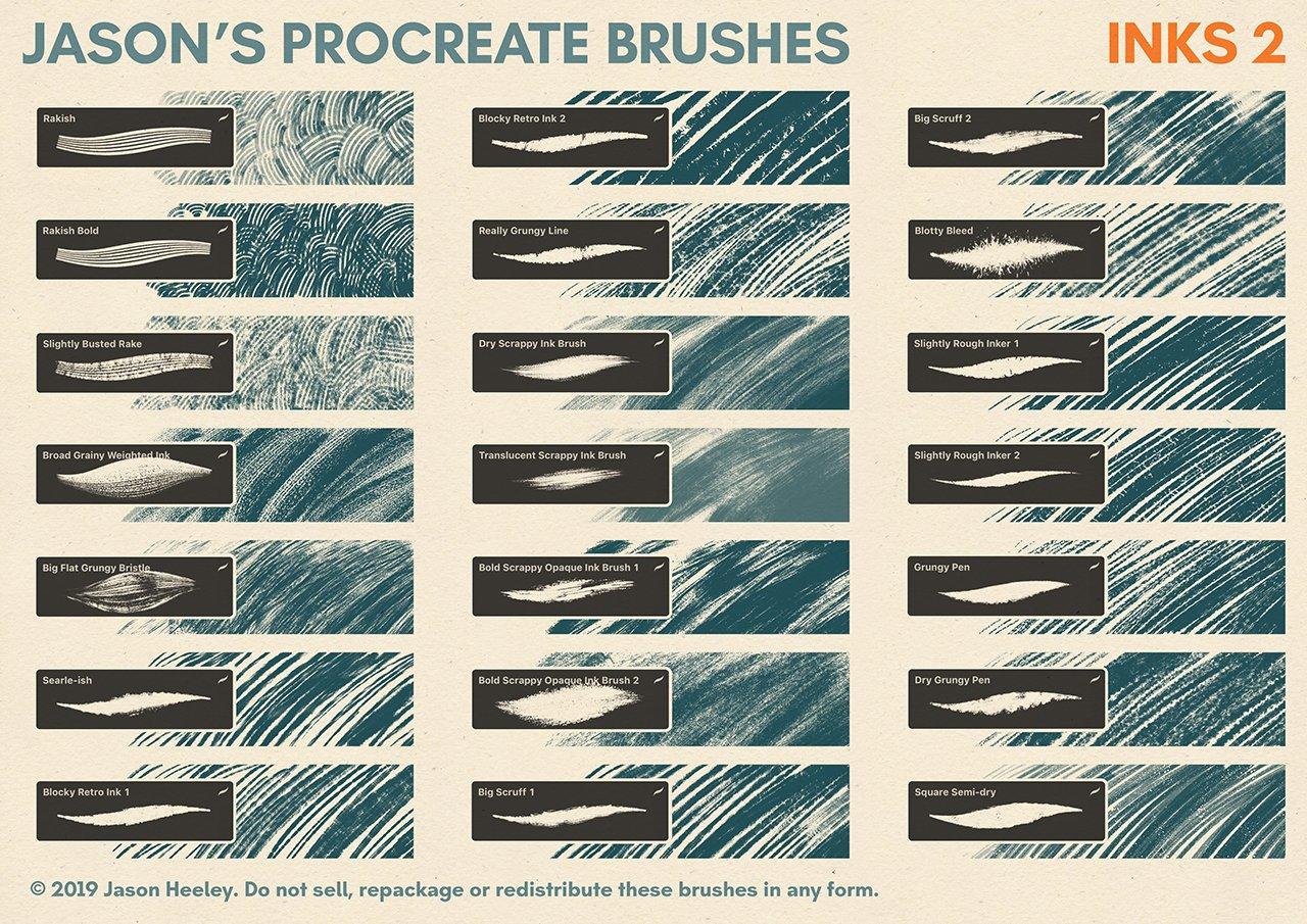 [淘宝购买] 潮流粗糙水墨颗粒线条绘画画笔Procreate笔刷素材 Jason's Procreate Brushes插图4