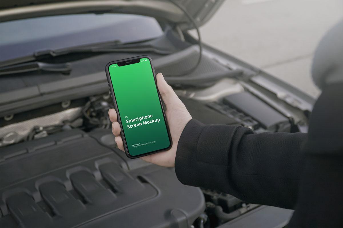 8款车内手持苹果iPhone 12手机屏幕演示样机 Phone Mockup Car Scenes 2插图