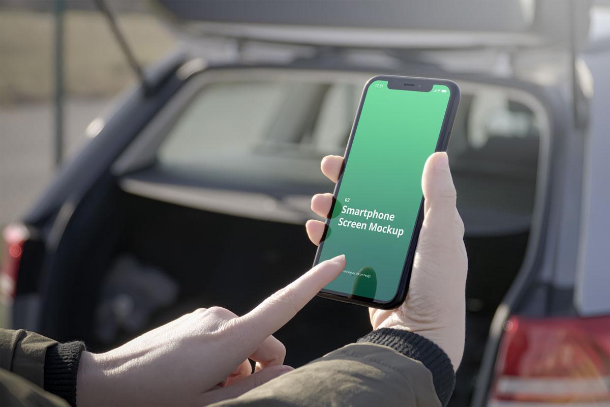 8款车内手持苹果iPhone 12手机屏幕演示样机 Phone Mockup Car Scenes 2插图3