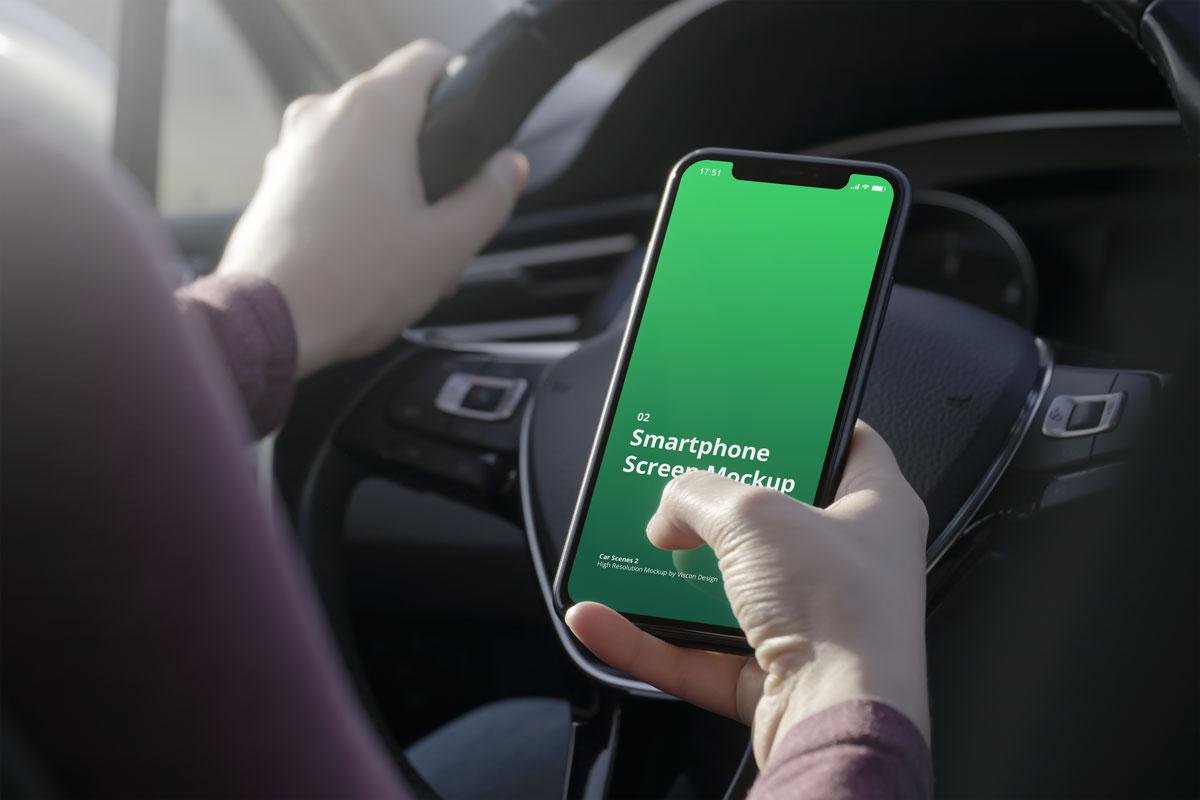 8款车内手持苹果iPhone 12手机屏幕演示样机 Phone Mockup Car Scenes 2插图6