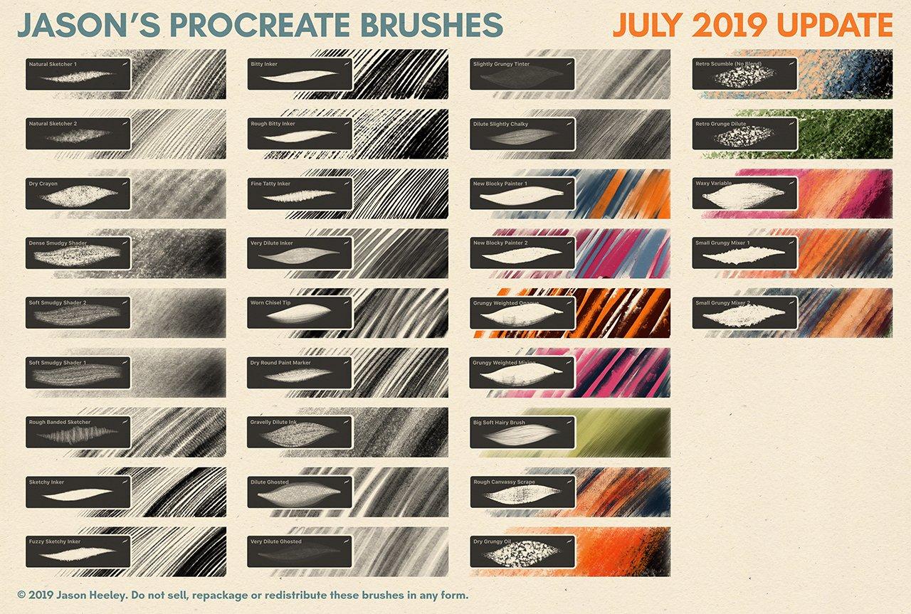 [淘宝购买] 潮流粗糙水墨颗粒线条绘画画笔Procreate笔刷素材 Jason's Procreate Brushes插图5