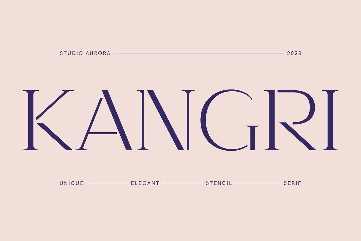 复古优雅画册杂志标题Logo衬线英文字体设计素材 Kangri – Unique Elegant Stencil Serif插图