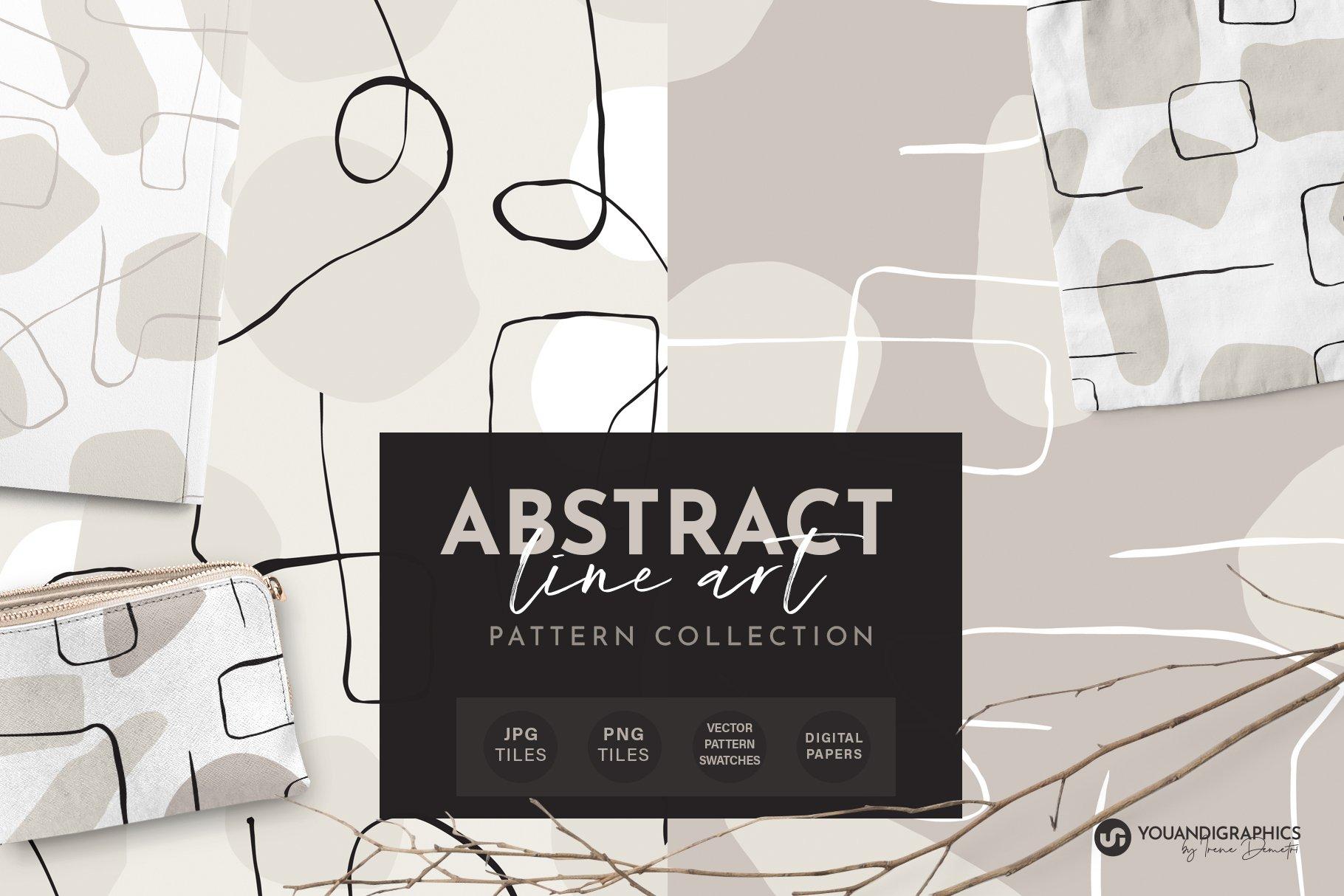 抽象艺术线条无缝隙矢量图案设计素材 Abstract Line Art Seamless Patterns插图