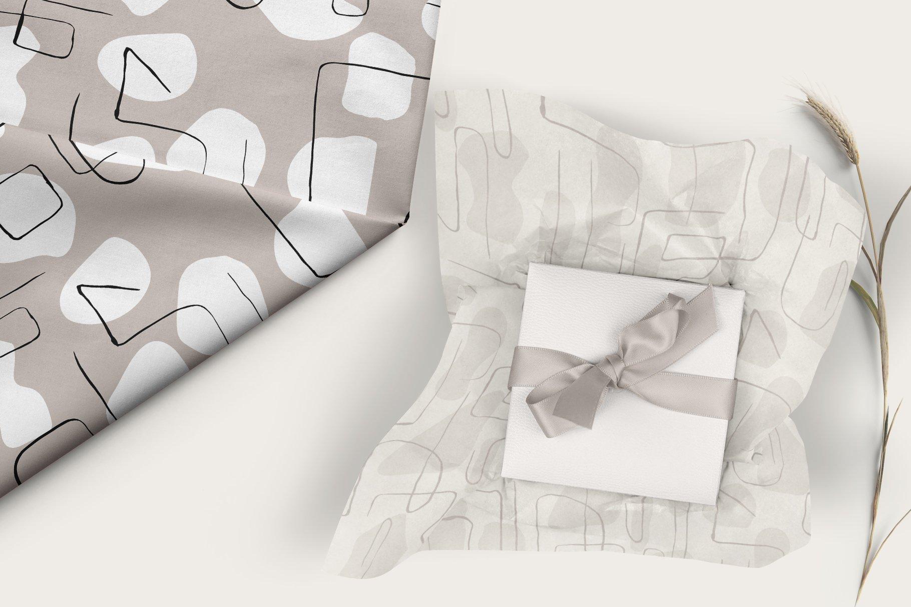 抽象艺术线条无缝隙矢量图案设计素材 Abstract Line Art Seamless Patterns插图4