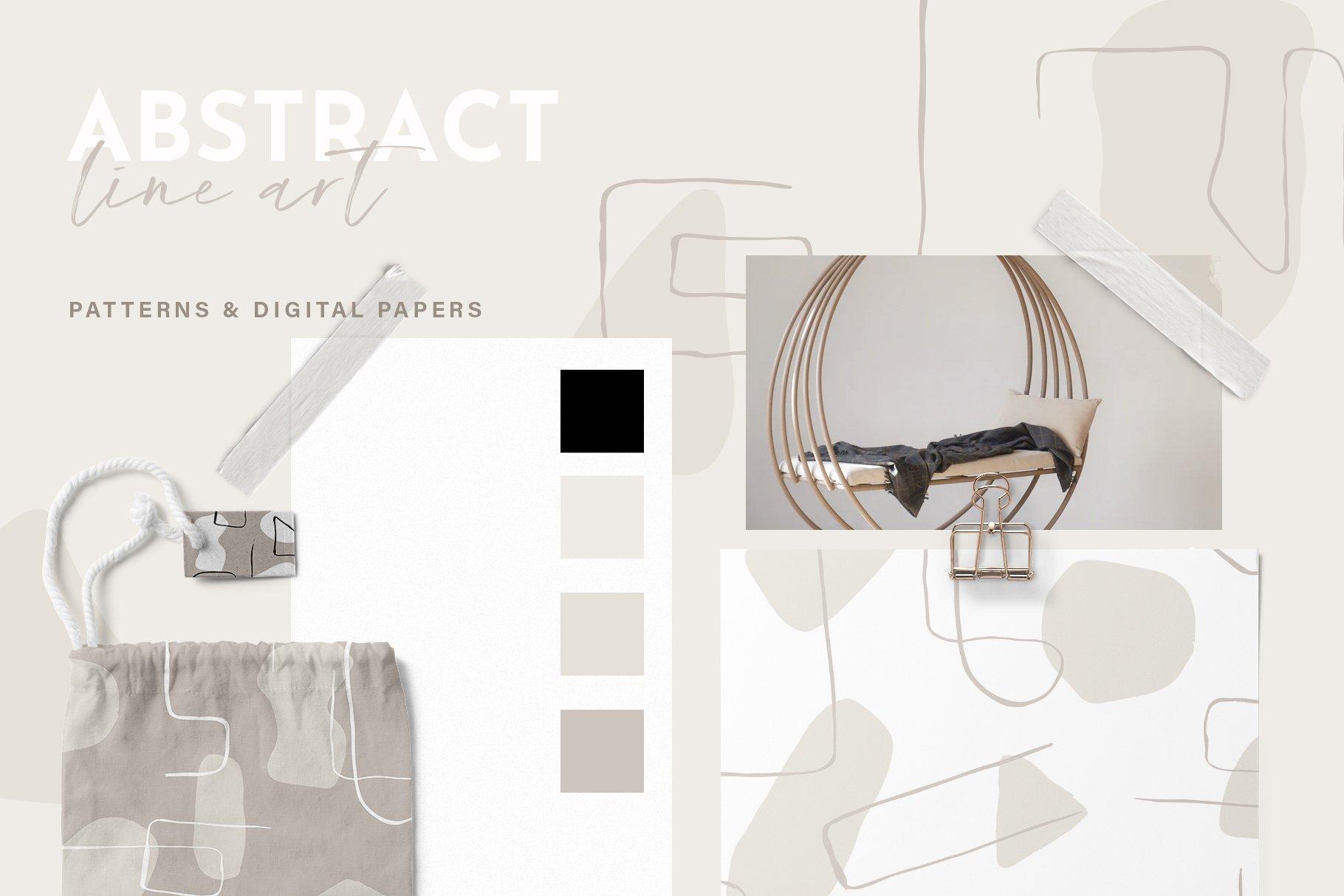 抽象艺术线条无缝隙矢量图案设计素材 Abstract Line Art Seamless Patterns插图6