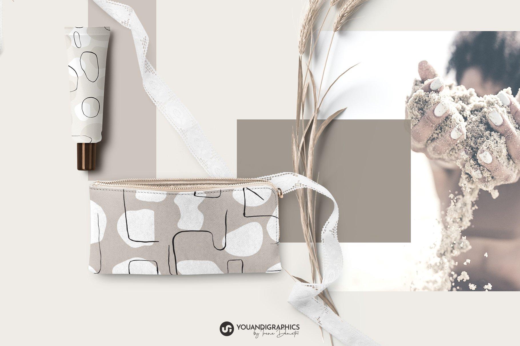 抽象艺术线条无缝隙矢量图案设计素材 Abstract Line Art Seamless Patterns插图8