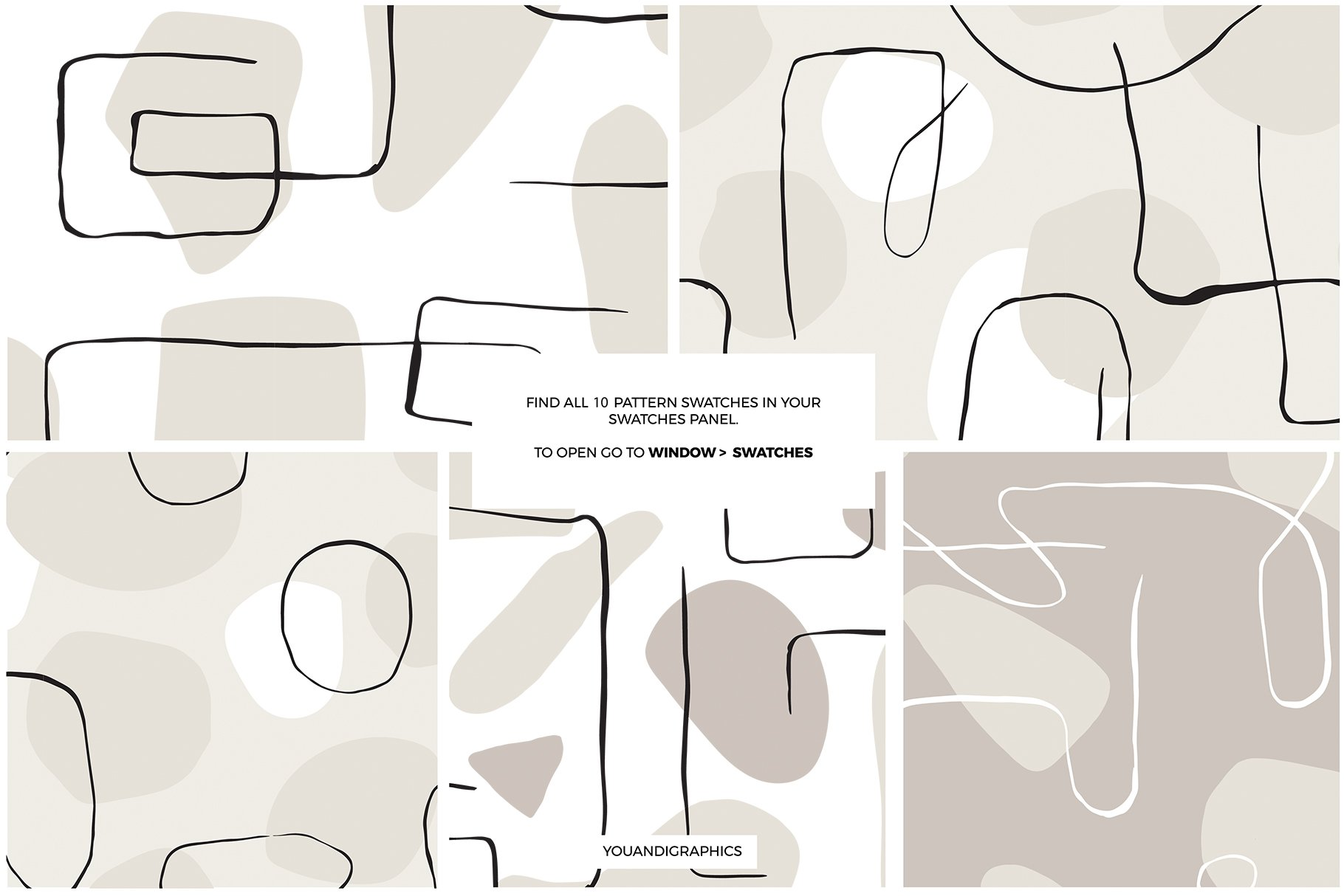 抽象艺术线条无缝隙矢量图案设计素材 Abstract Line Art Seamless Patterns插图9