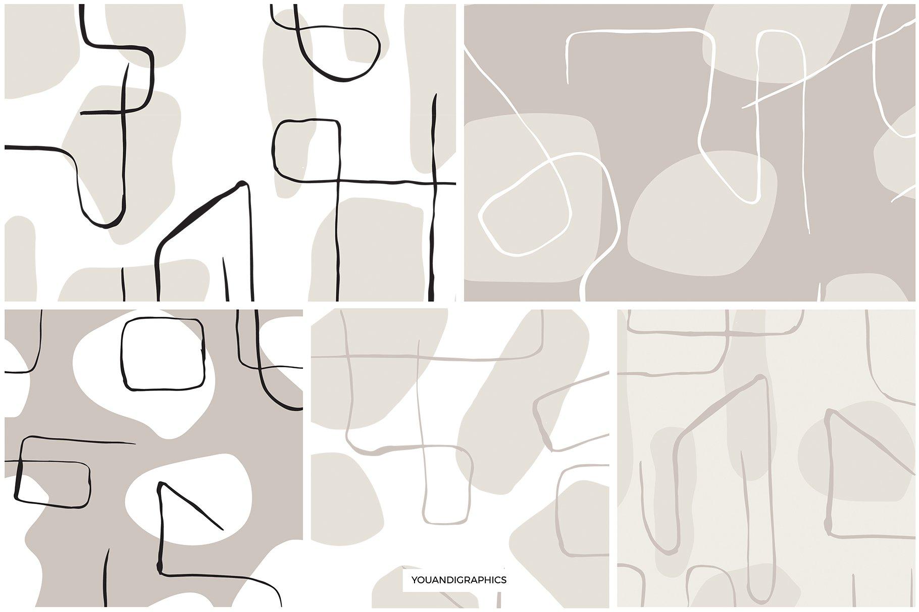 抽象艺术线条无缝隙矢量图案设计素材 Abstract Line Art Seamless Patterns插图10