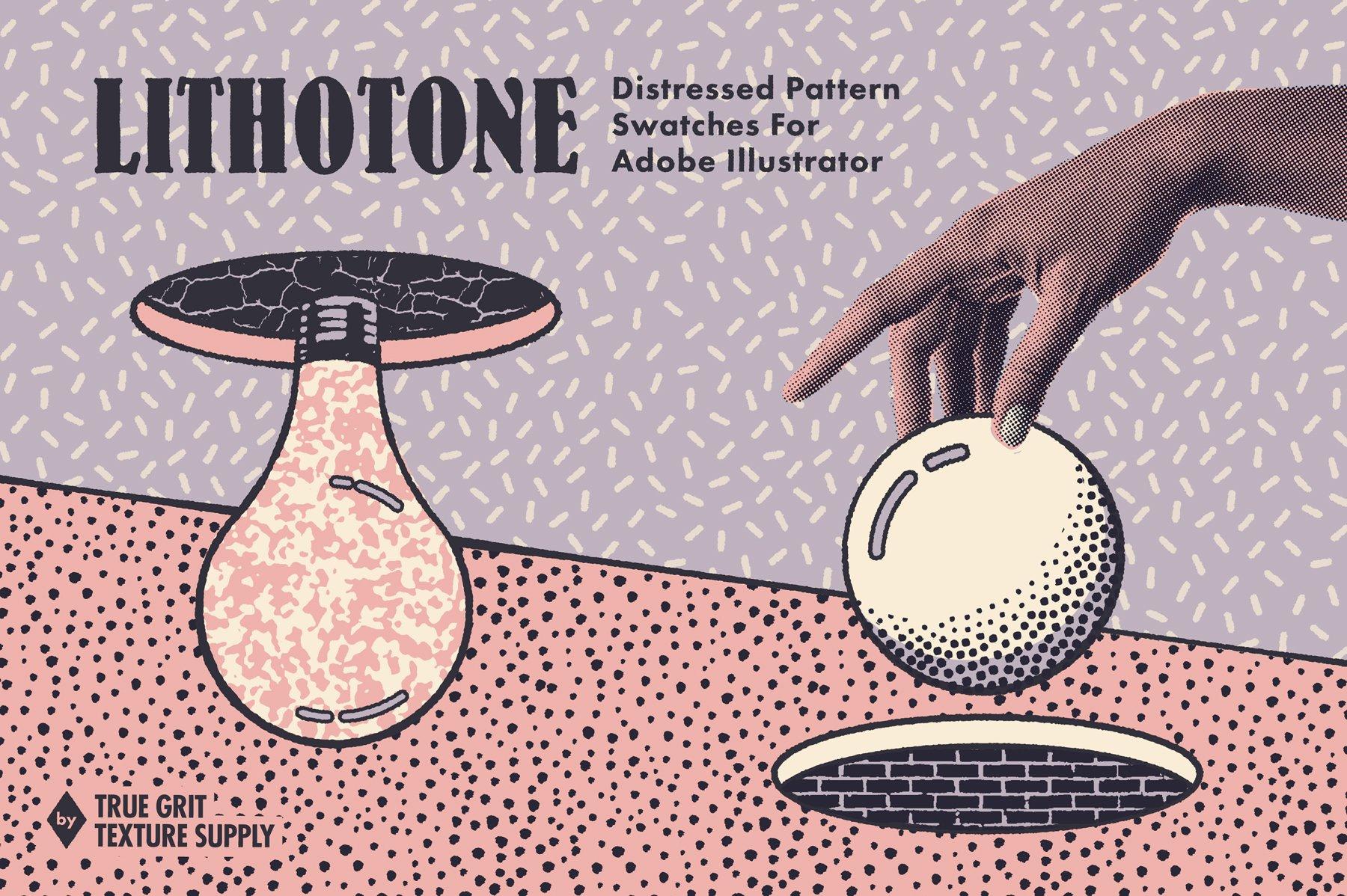 [淘宝购买] 60多款裂纹颗粒线条飞溅绘画画笔AI矢量笔刷素材 Lithotone Dstrssd Pattern Swatches插图