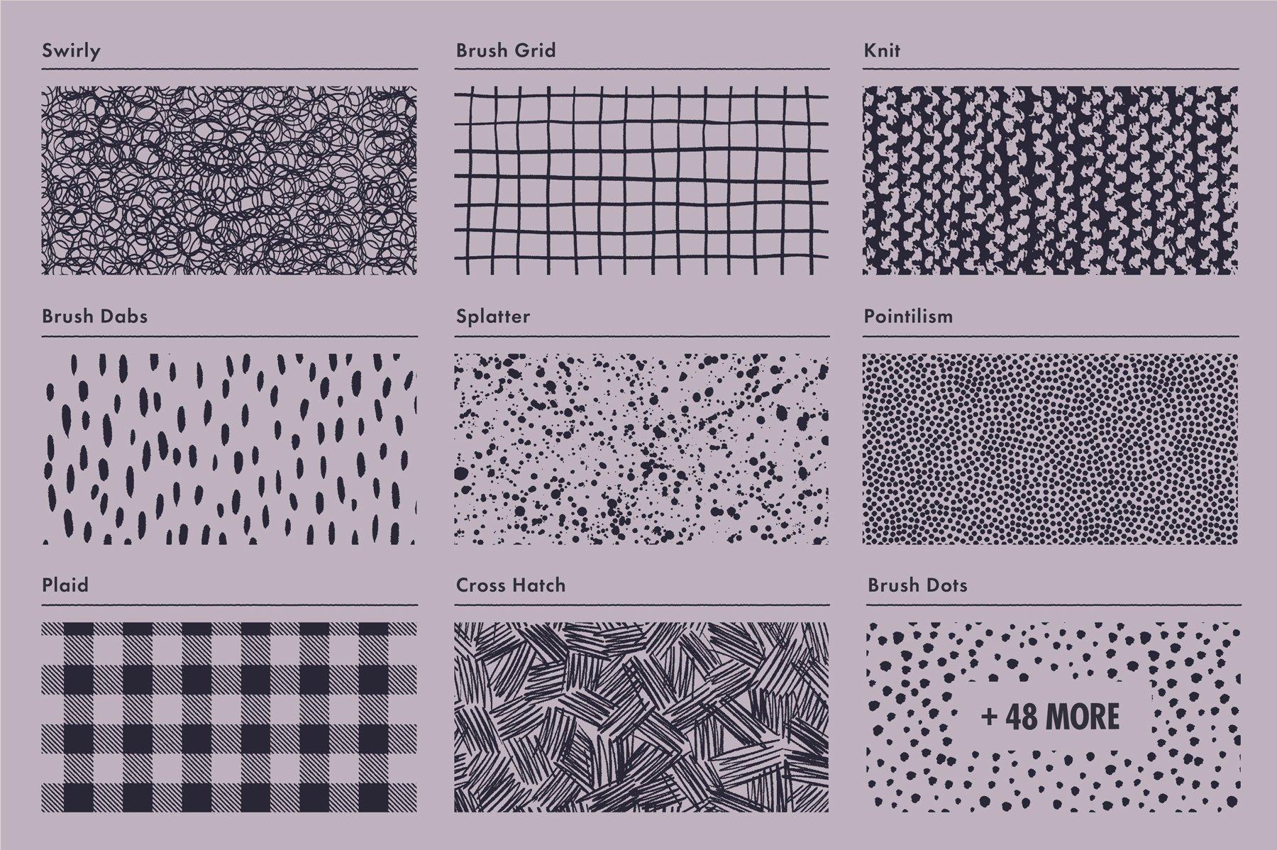 [淘宝购买] 60多款裂纹颗粒线条飞溅绘画画笔AI矢量笔刷素材 Lithotone Dstrssd Pattern Swatches插图5