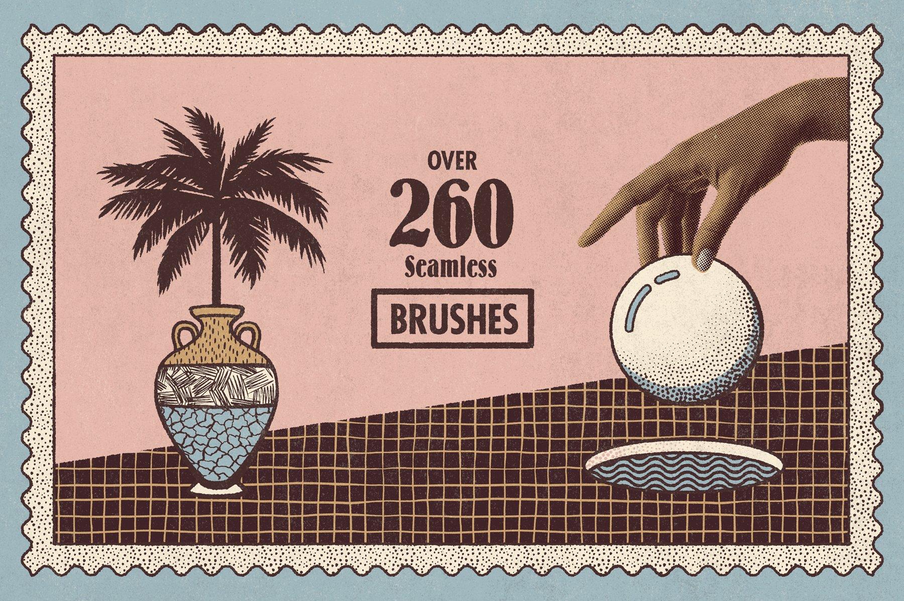 260多款潮流复古艺术图案绘画画笔PS笔刷设计素材 Lithotone Brushes For Photoshop插图2