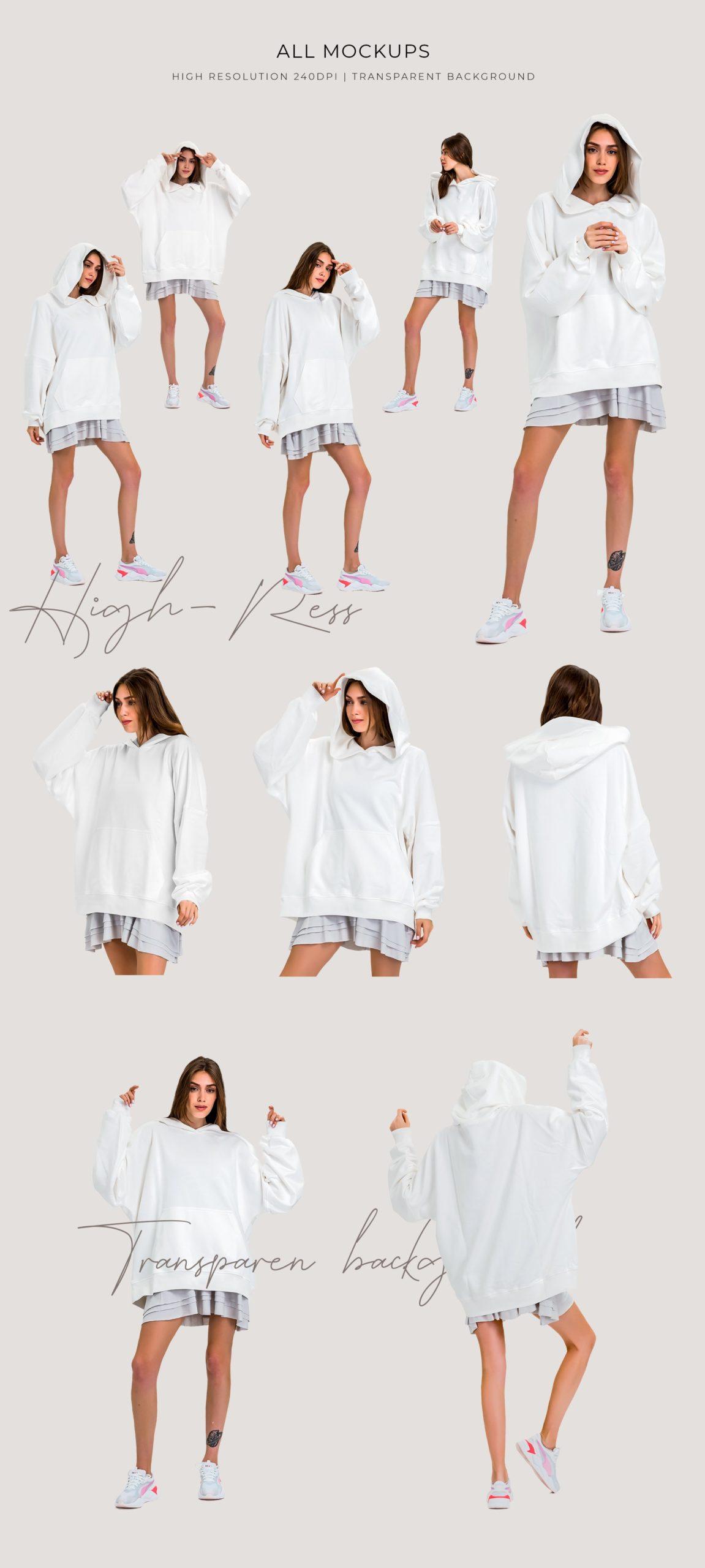 超大女式连衣帽卫衣印花图案设计展示贴图样机模板 Oversize Hoodie Mockup Templates插图1
