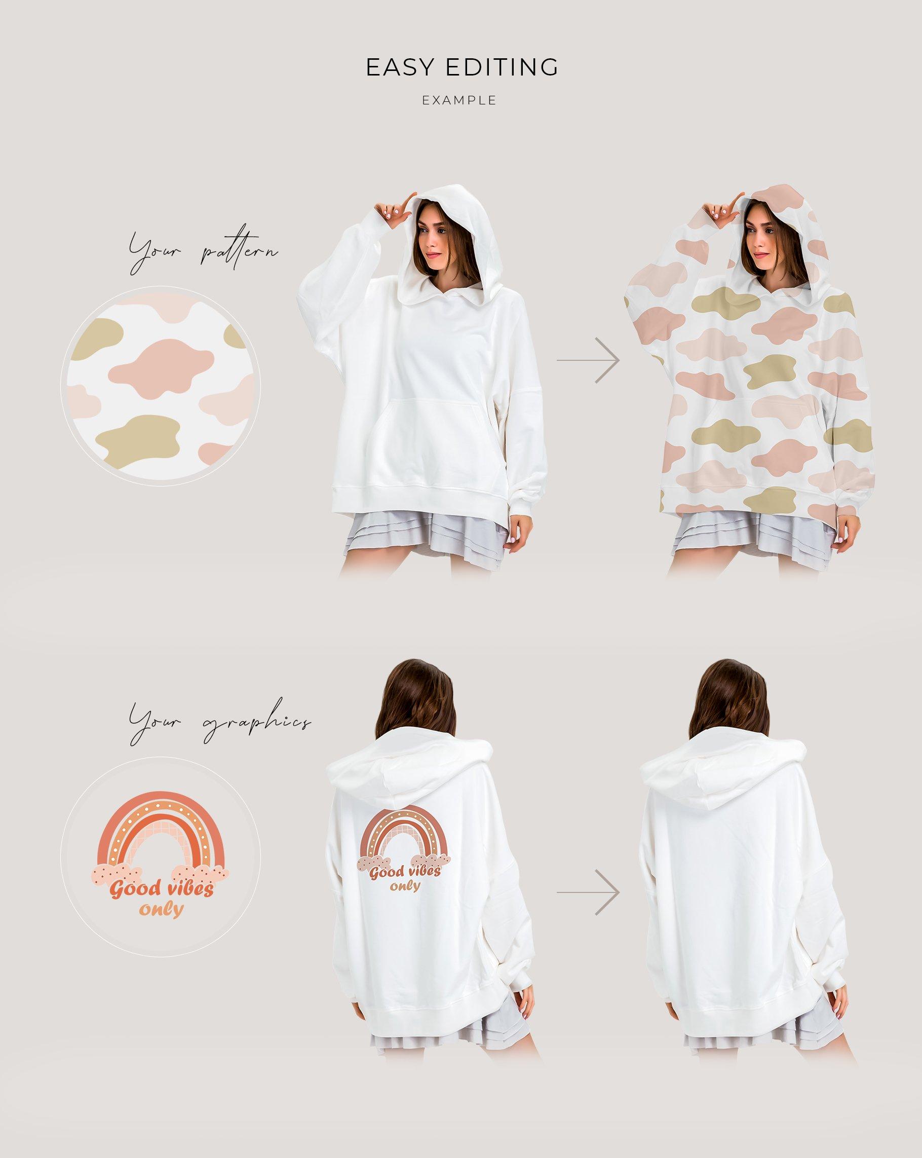超大女式连衣帽卫衣印花图案设计展示贴图样机模板 Oversize Hoodie Mockup Templates插图2