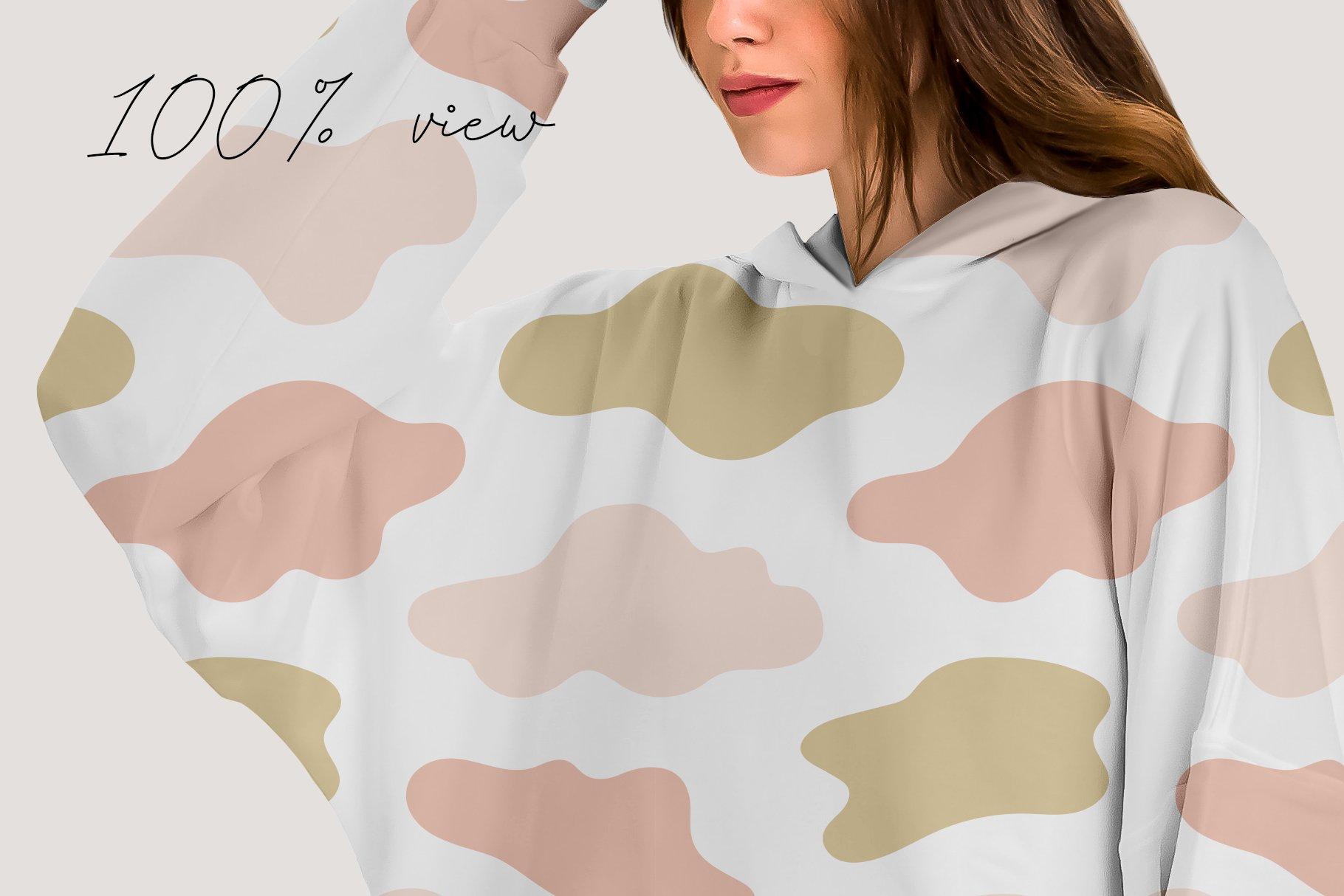 超大女式连衣帽卫衣印花图案设计展示贴图样机模板 Oversize Hoodie Mockup Templates插图3