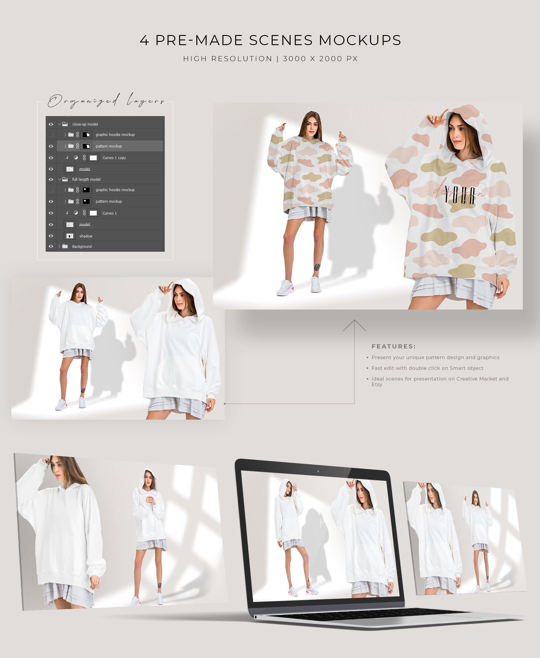 超大女式连衣帽卫衣印花图案设计展示贴图样机模板 Oversize Hoodie Mockup Templates插图4