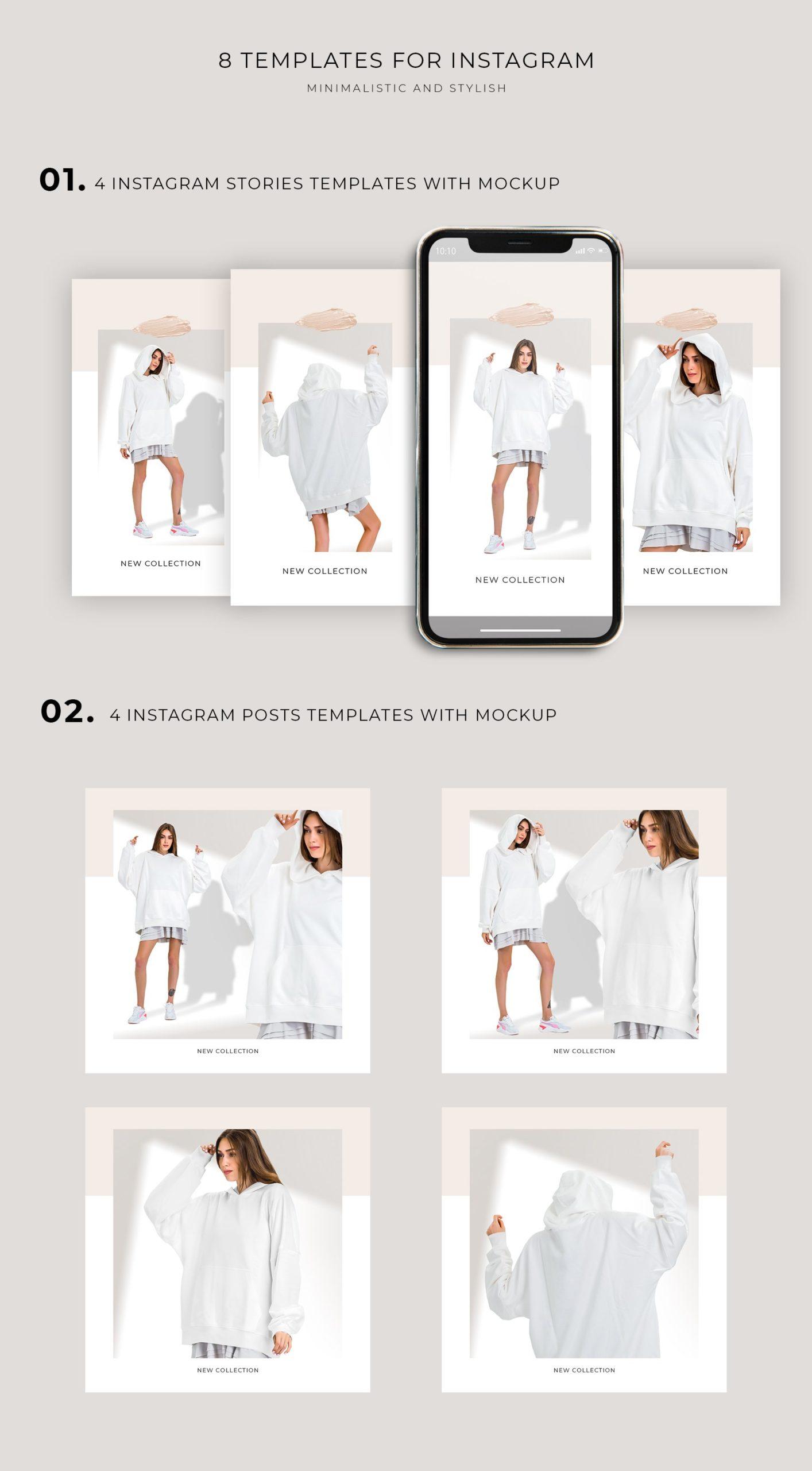 超大女式连衣帽卫衣印花图案设计展示贴图样机模板 Oversize Hoodie Mockup Templates插图6