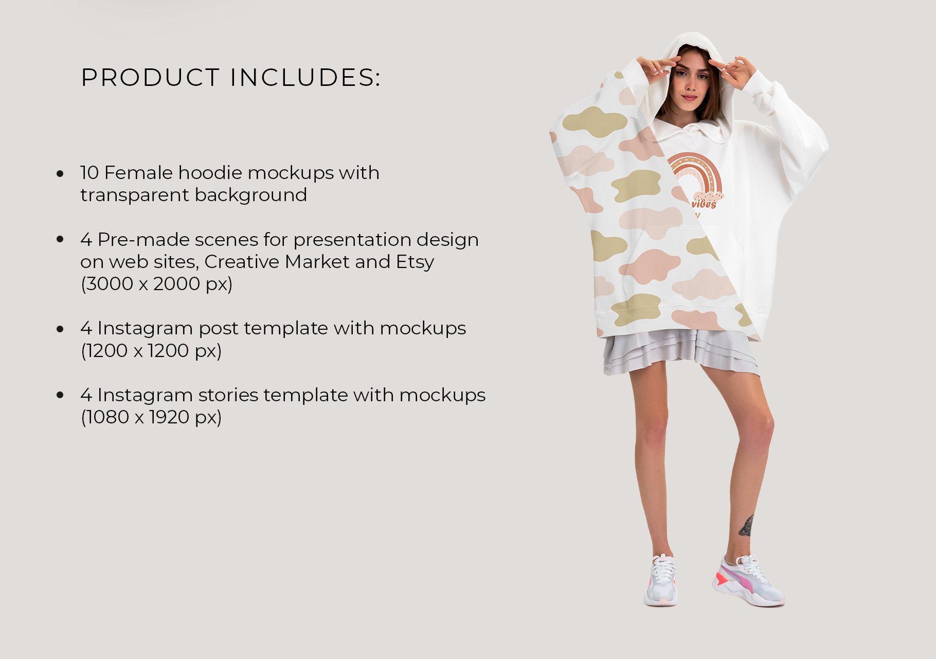 超大女式连衣帽卫衣印花图案设计展示贴图样机模板 Oversize Hoodie Mockup Templates插图7