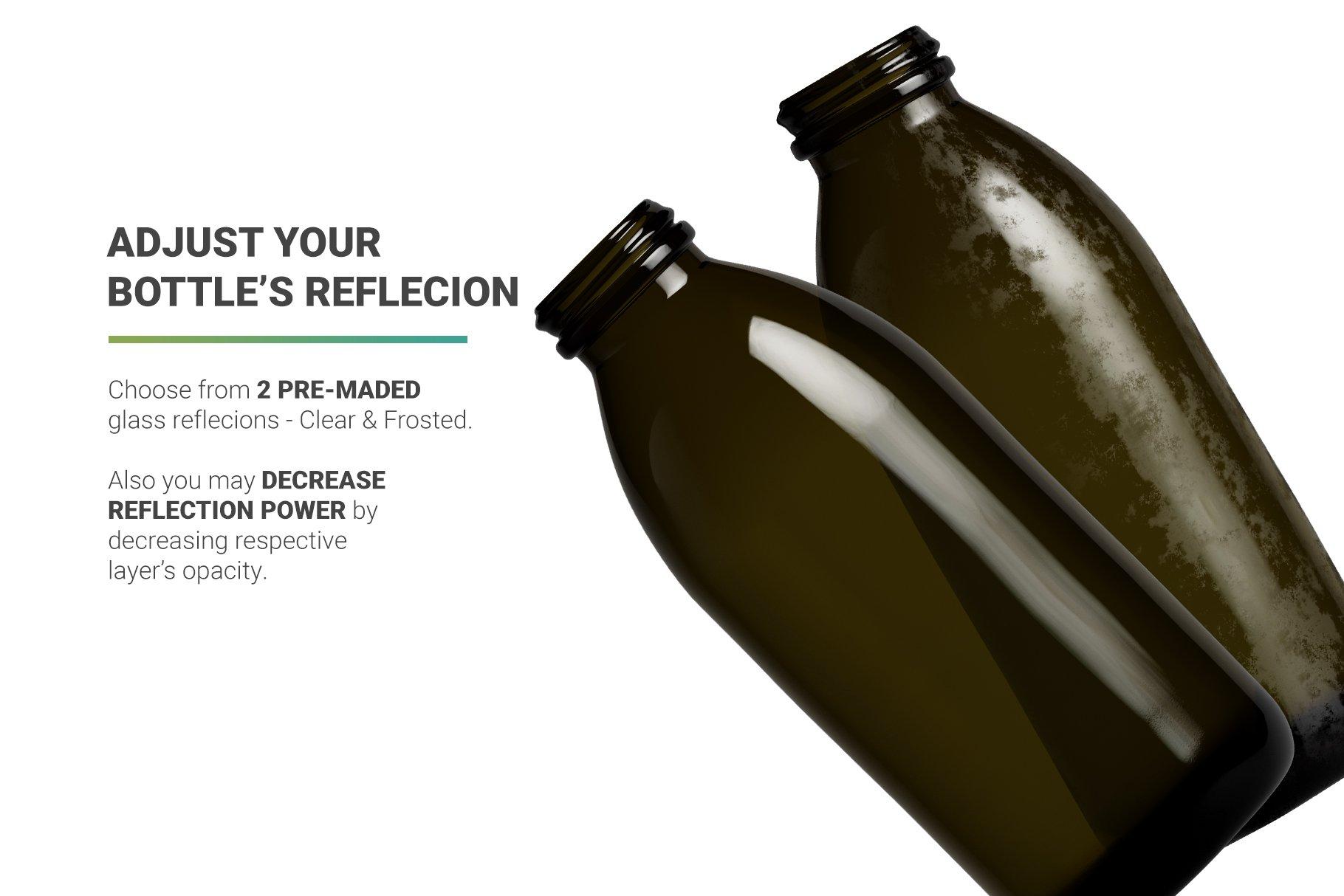 高分辨率鲜奶玻璃瓶设计展示贴图样机 Milk Cocoa Bottle Mockup插图2