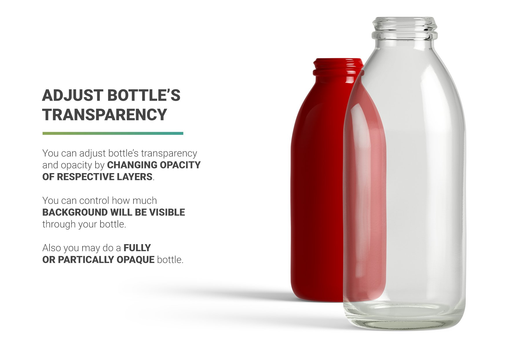 高分辨率鲜奶玻璃瓶设计展示贴图样机 Milk Cocoa Bottle Mockup插图5