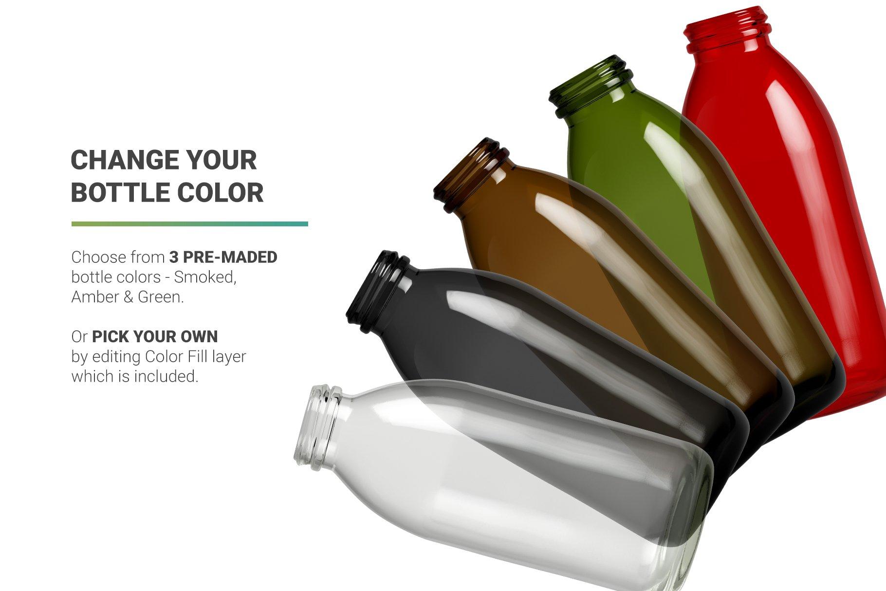 高分辨率鲜奶玻璃瓶设计展示贴图样机 Milk Cocoa Bottle Mockup插图6