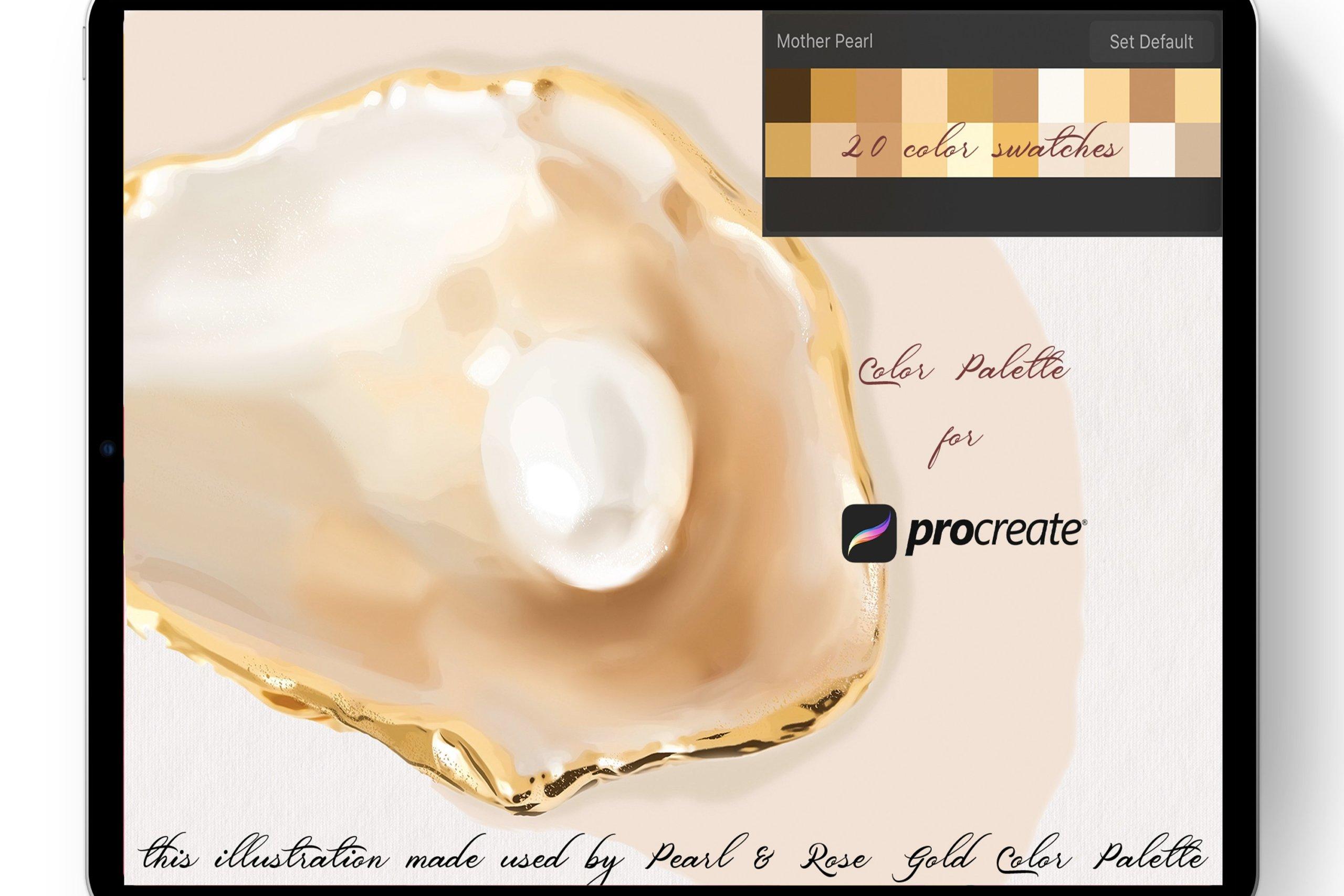 20款优雅Procreate调色板设计素材 Mother Pearl Color Palette Procreate插图1