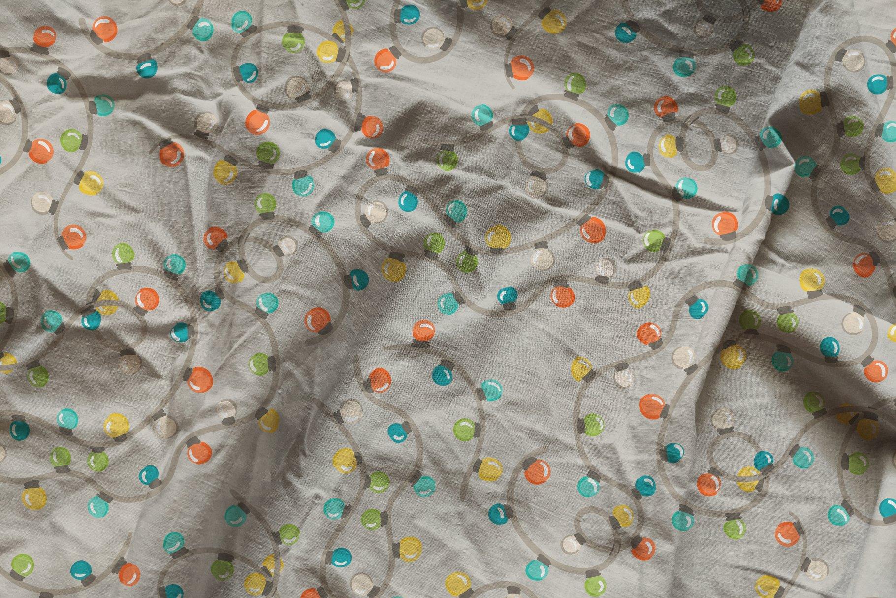 褶皱纺织面料布料印花图案设计PS贴图样机模板 Cotton Fabric Mockup插图1
