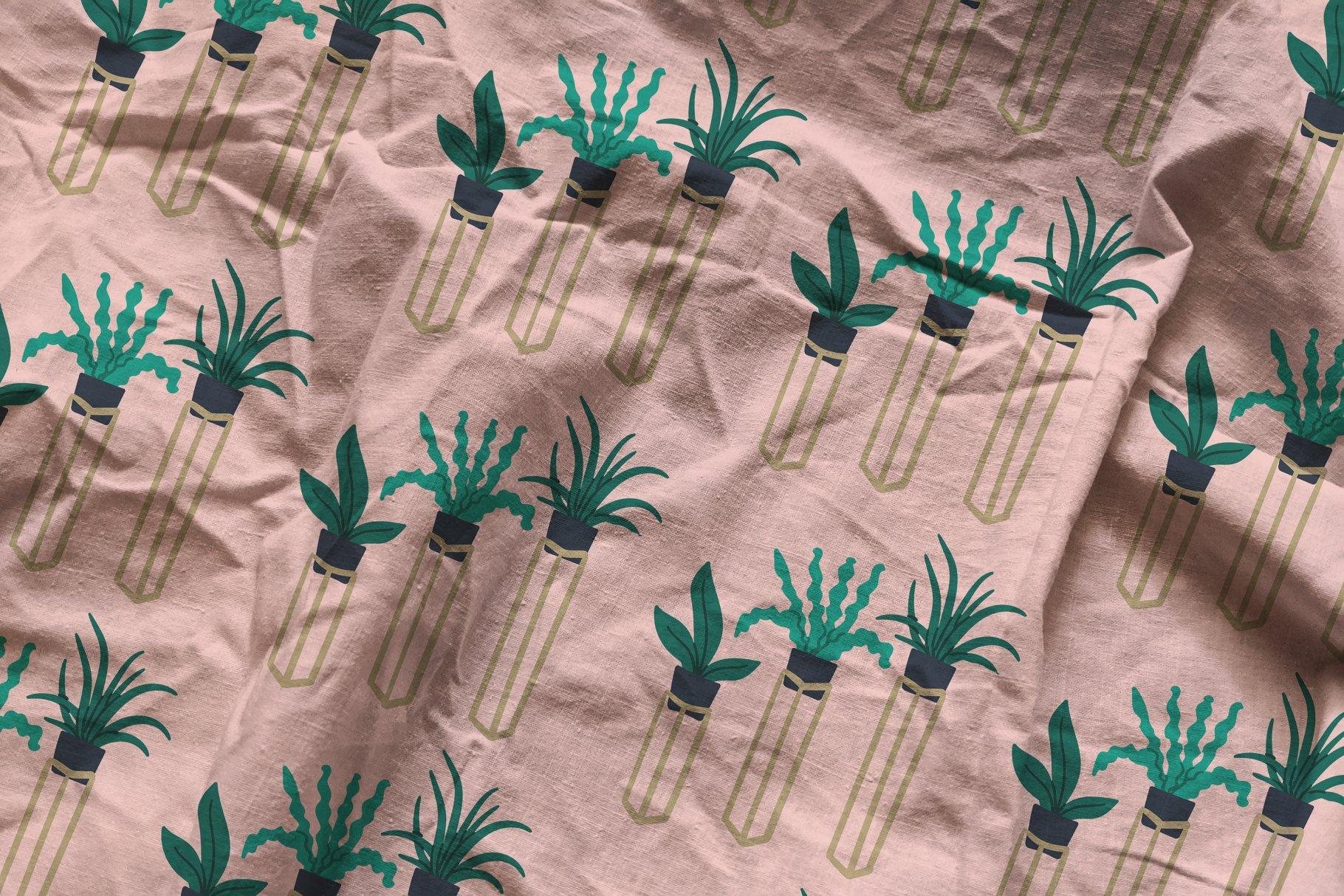 褶皱纺织面料布料印花图案设计PS贴图样机模板 Cotton Fabric Mockup插图4