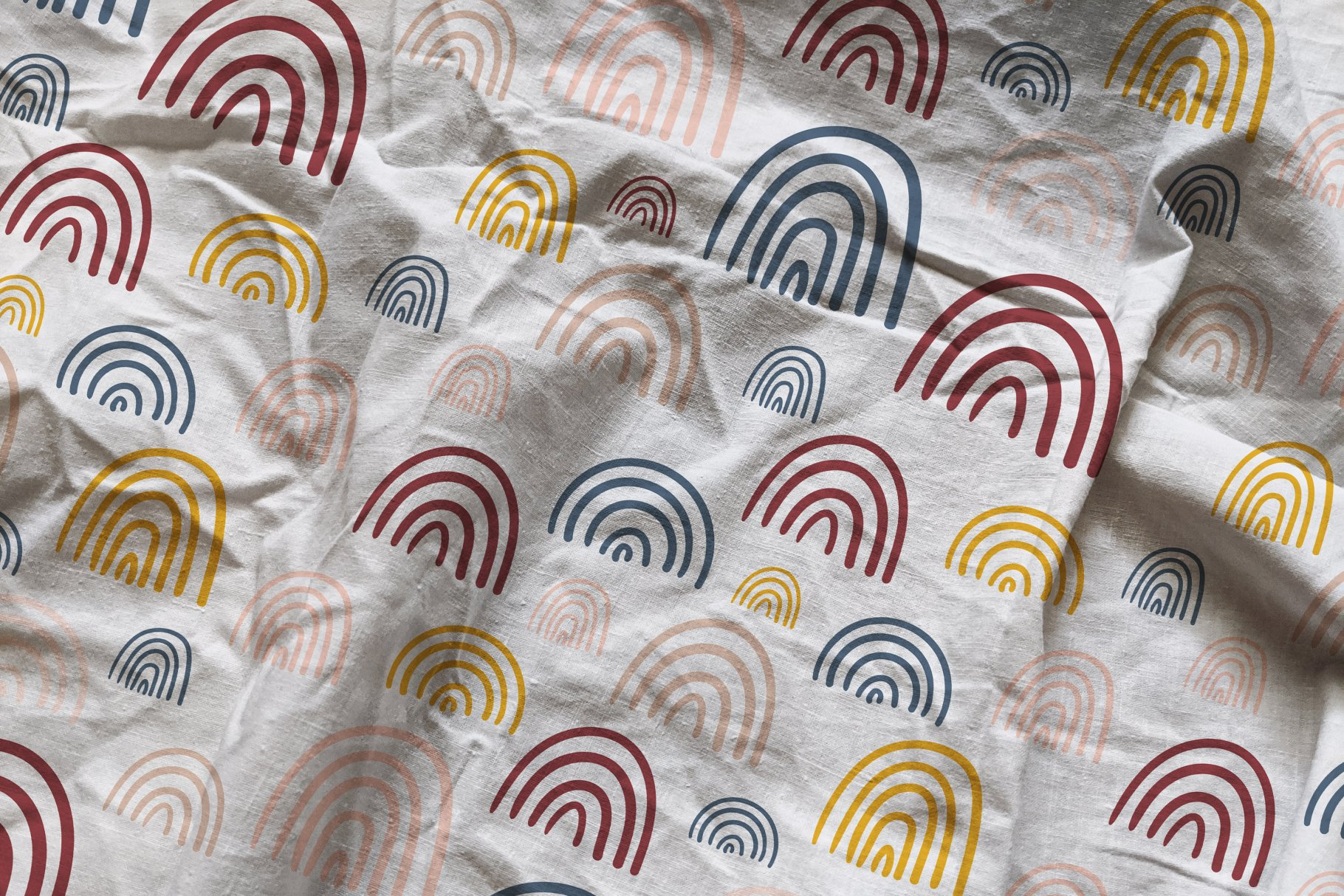 褶皱纺织面料布料印花图案设计PS贴图样机模板 Cotton Fabric Mockup插图5