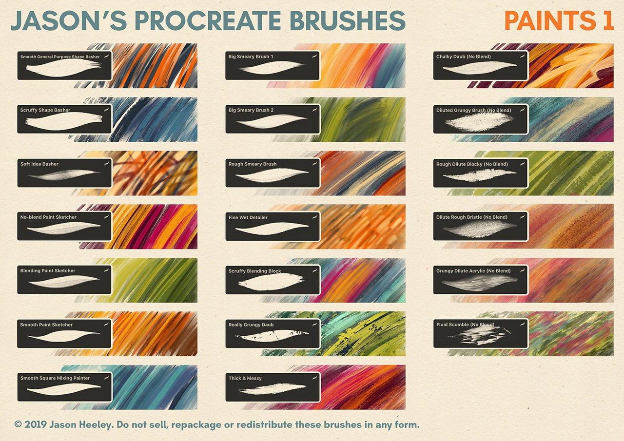 [淘宝购买] 潮流粗糙水墨颗粒线条绘画画笔Procreate笔刷素材 Jason's Procreate Brushes插图7