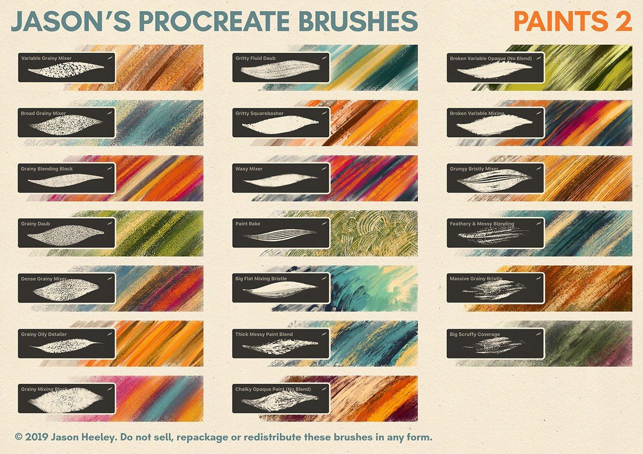 [淘宝购买] 潮流粗糙水墨颗粒线条绘画画笔Procreate笔刷素材 Jason's Procreate Brushes插图8