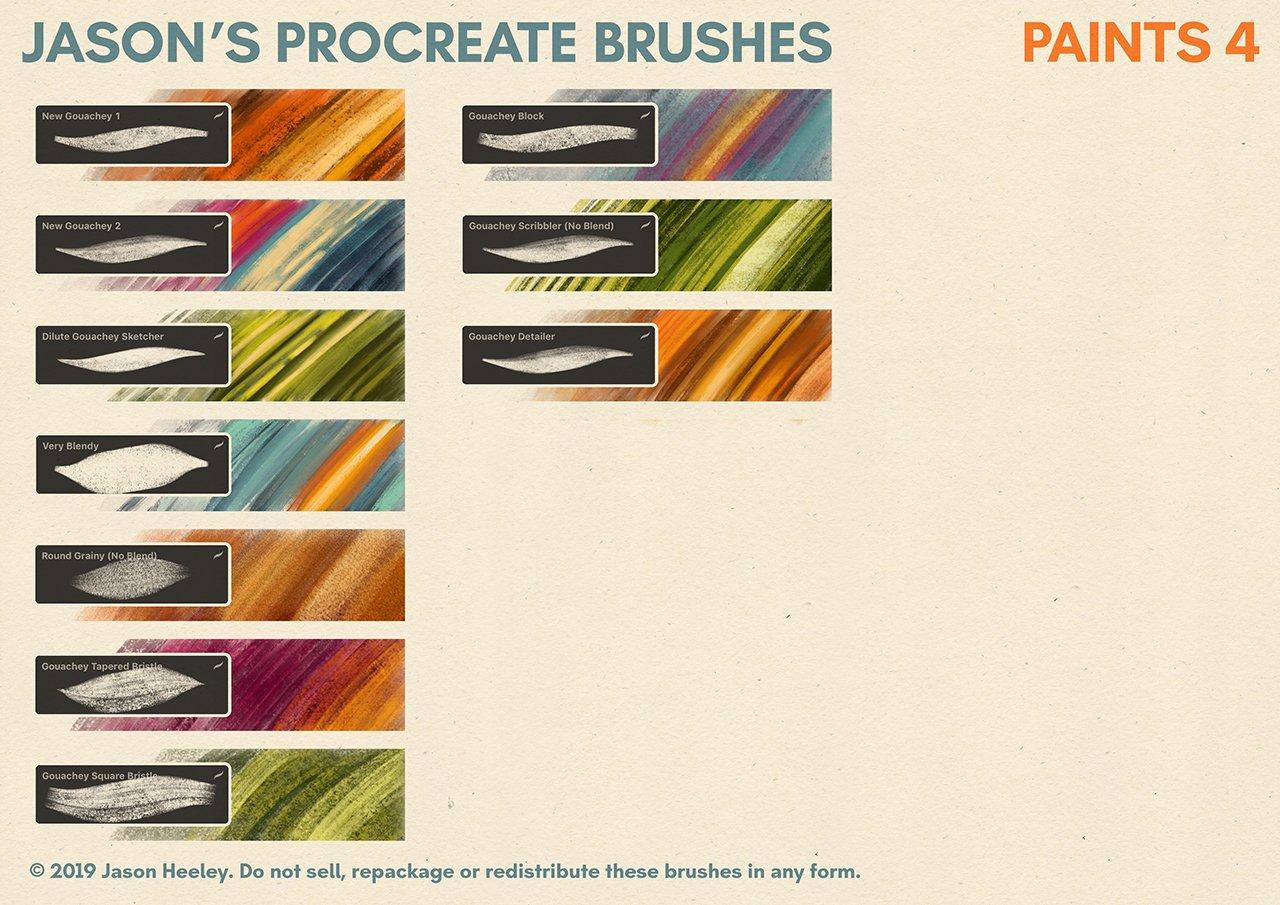 [淘宝购买] 潮流粗糙水墨颗粒线条绘画画笔Procreate笔刷素材 Jason's Procreate Brushes插图10